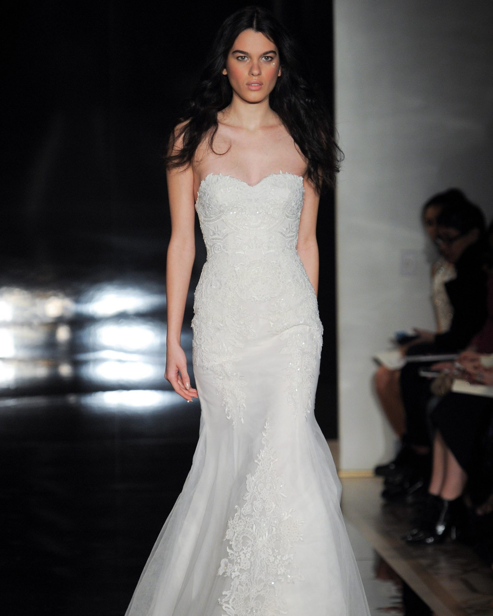 Silk organza fit-and-flare embroidered sweetheart gown.