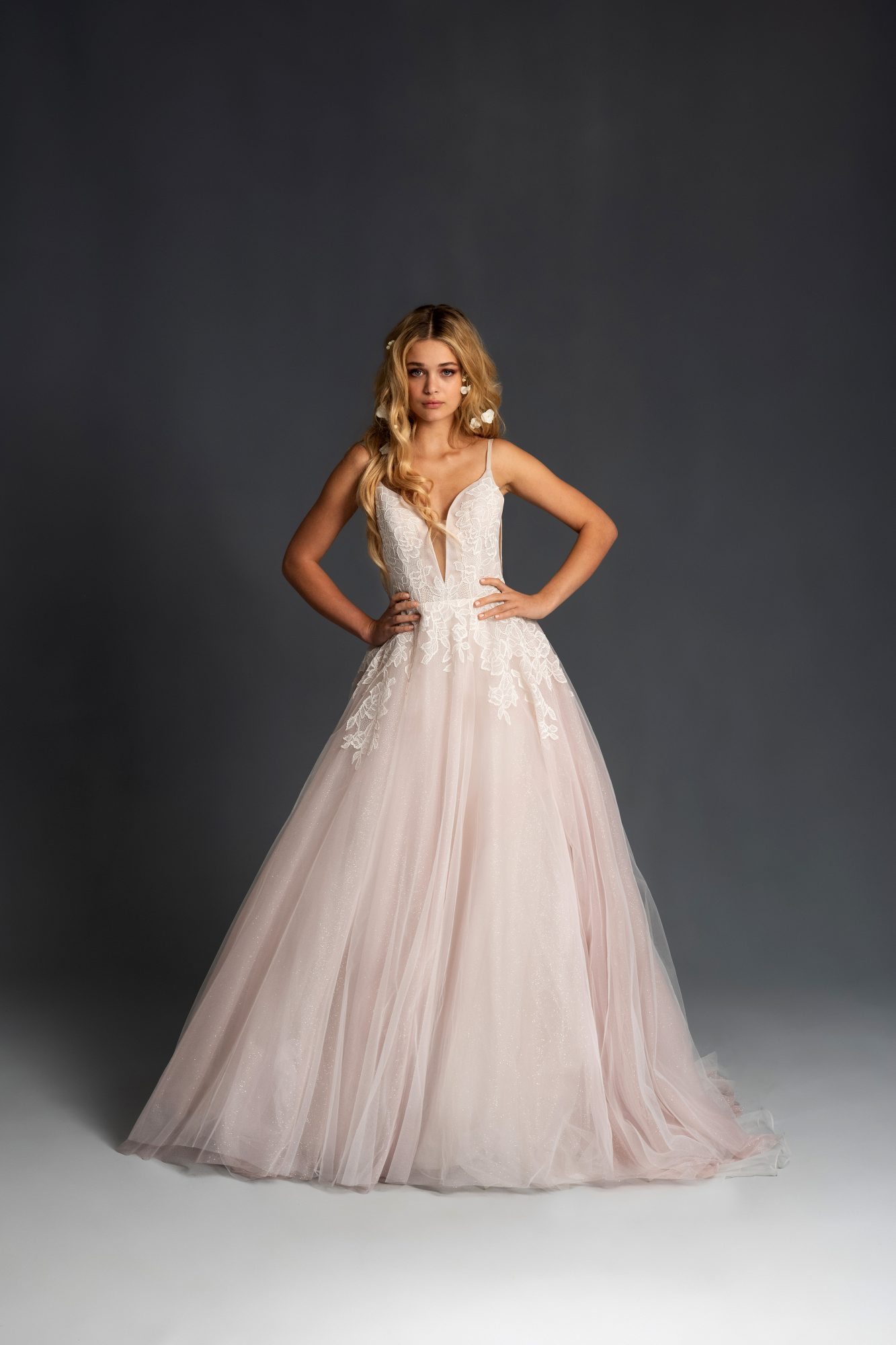 blush hayley paige sleeveless deep v pink tulle ballgown wedding dress spring 2020