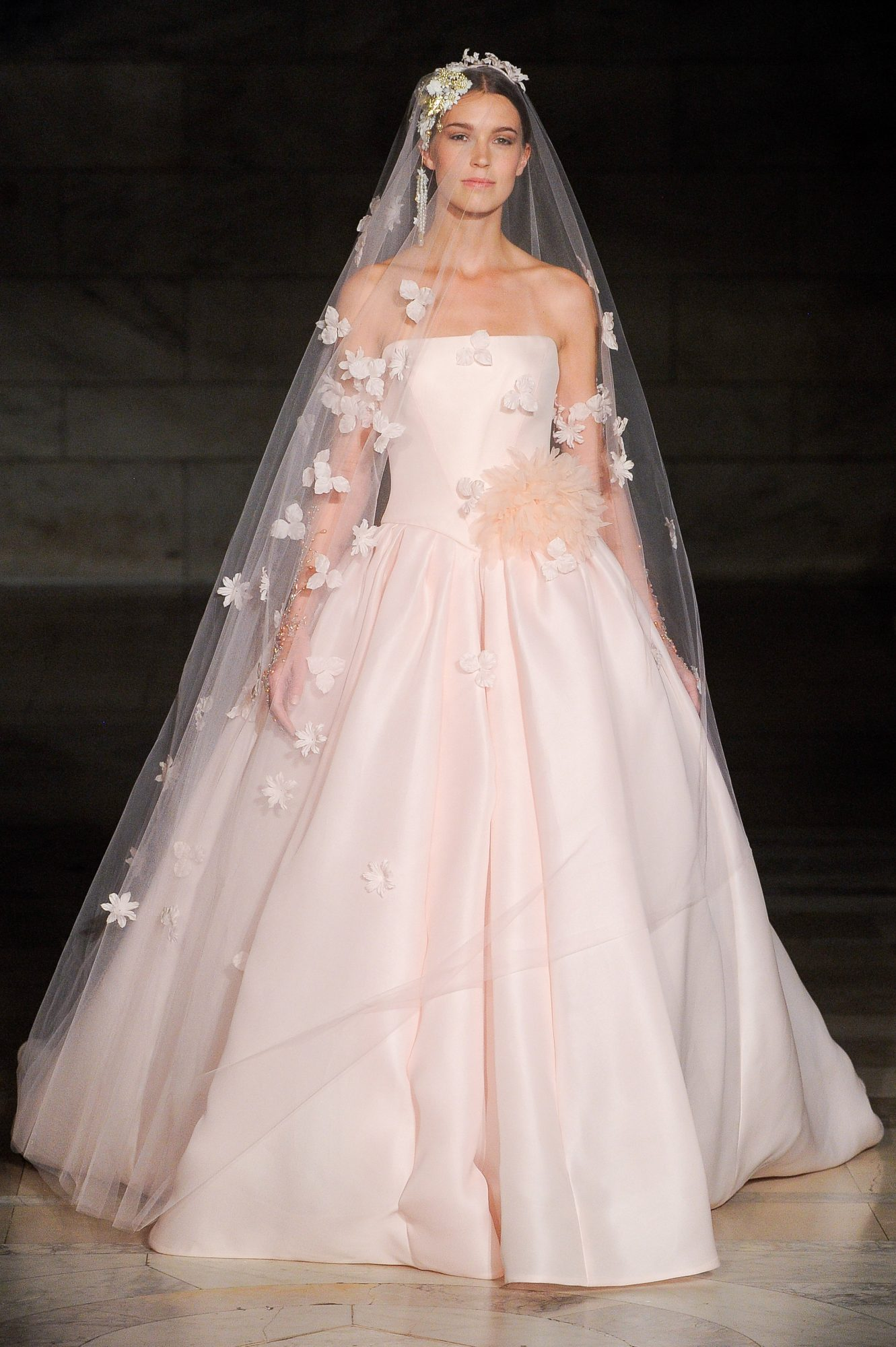 reem acra fall 2019 strapless pink ballgown wedding dress