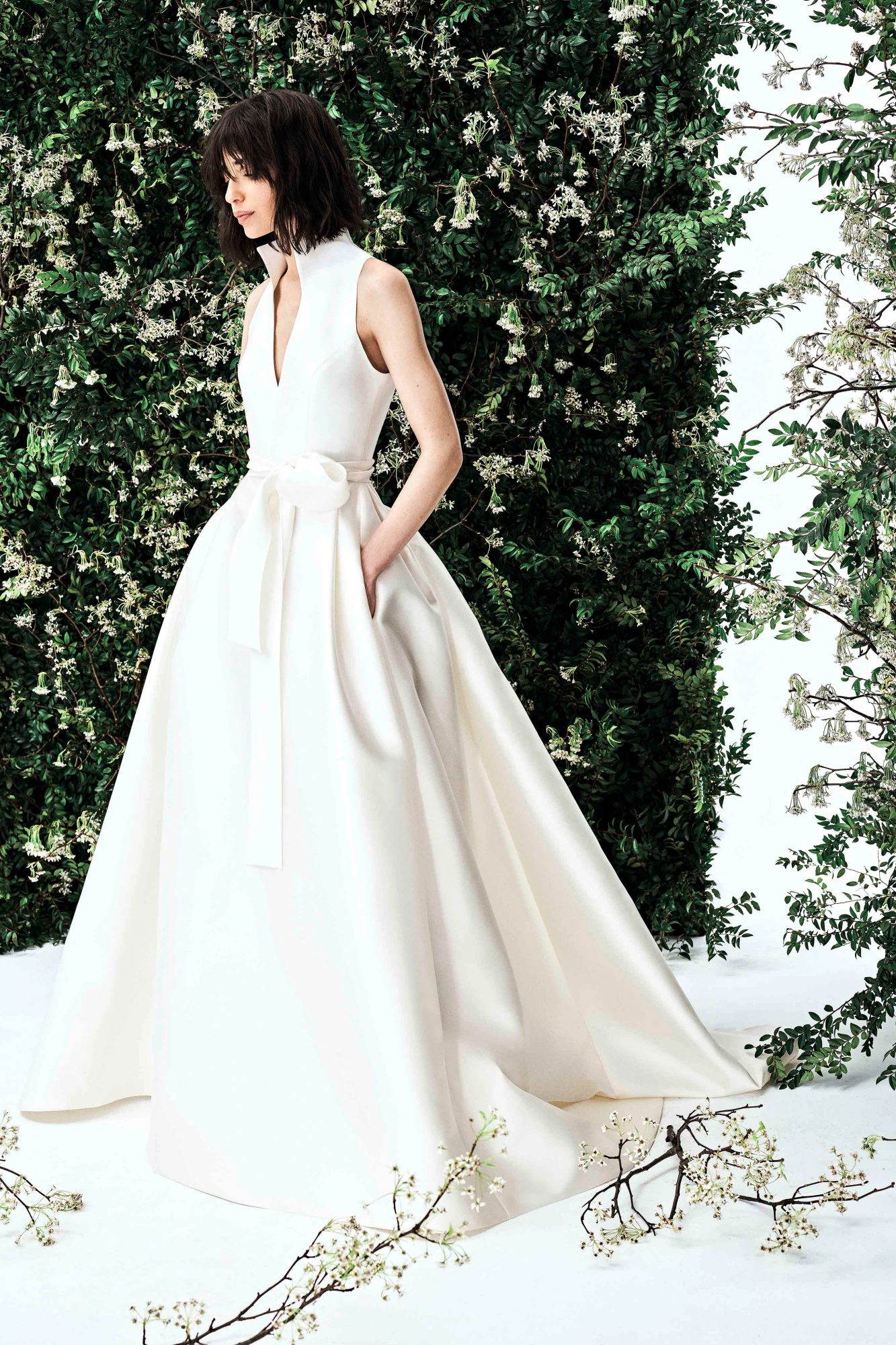 carolina herrera deep v satin ballgown wedding dress spring 2020