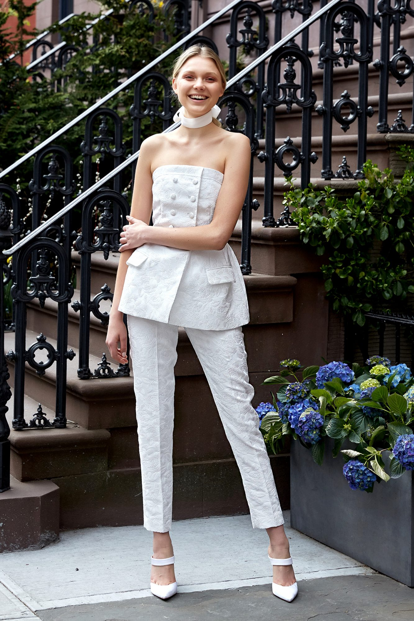 lela rose wedding dress spring 2019 strapless top and pants separates