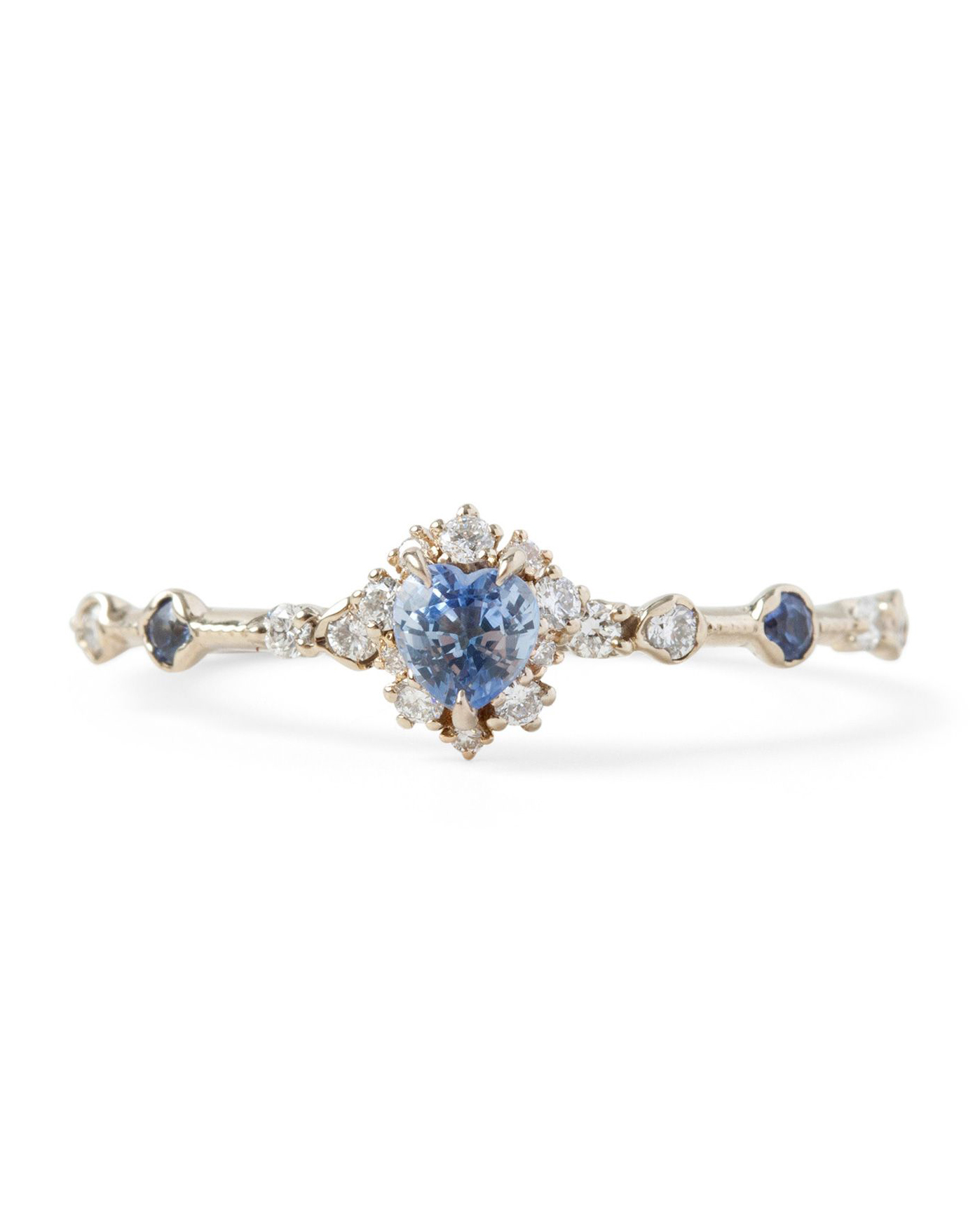 pale blue heart-shaped sapphire ring