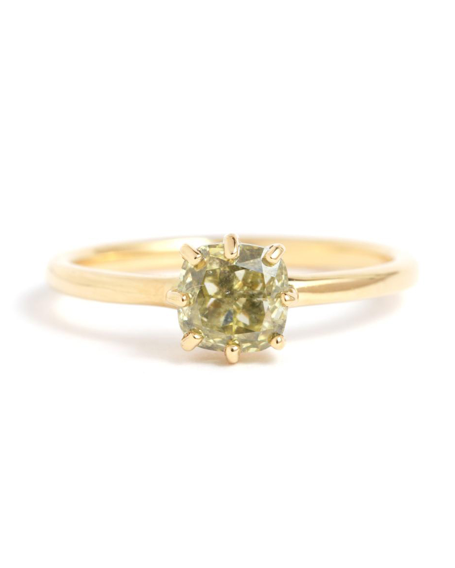 Green Diamond Ring with gold band