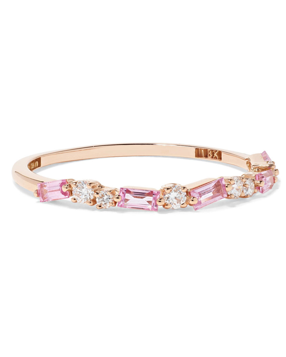 Rose Gold, Diamond, and pink Sapphire Ring