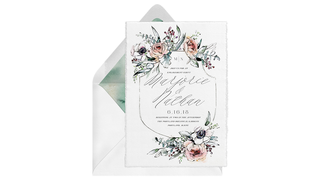 paperless engagement party invite blooms