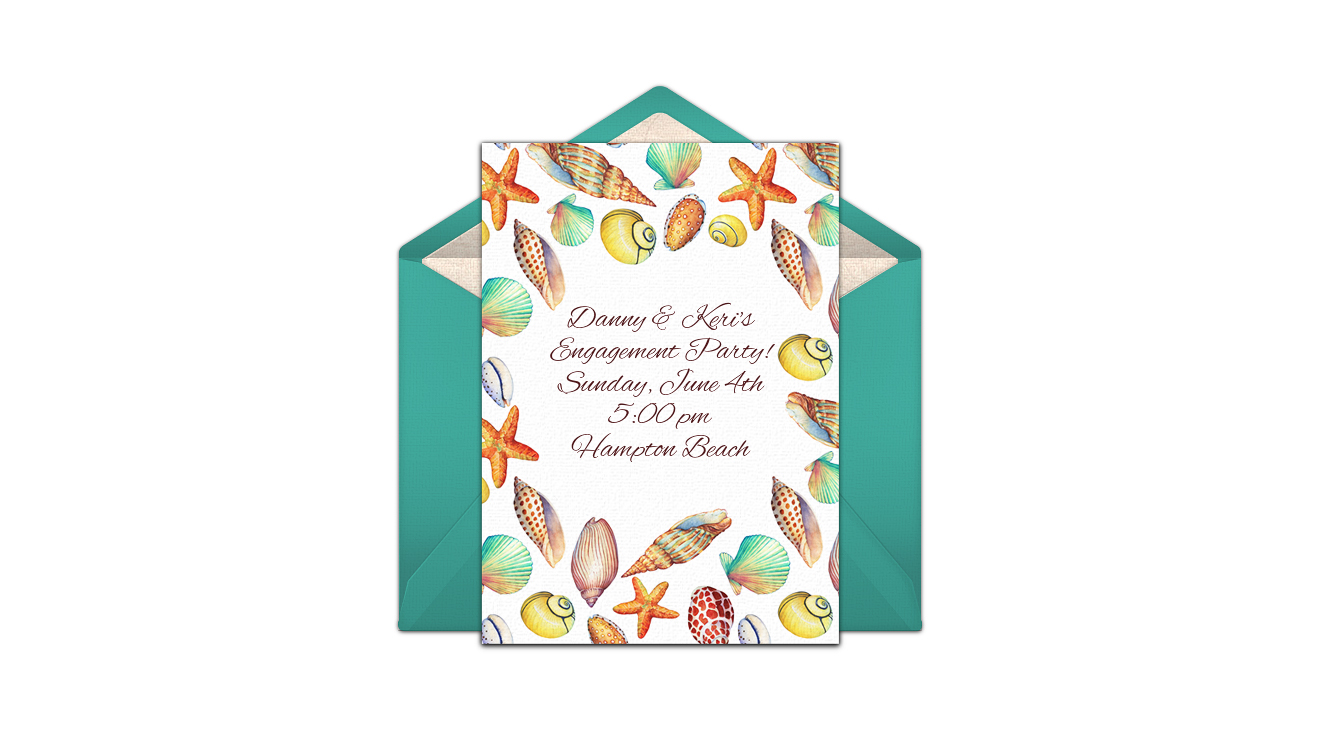 paperless engagement party invite gold shells