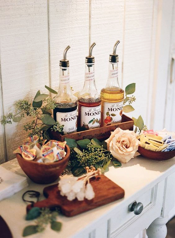 coffee wedding ideas table with flavors sugar creamer