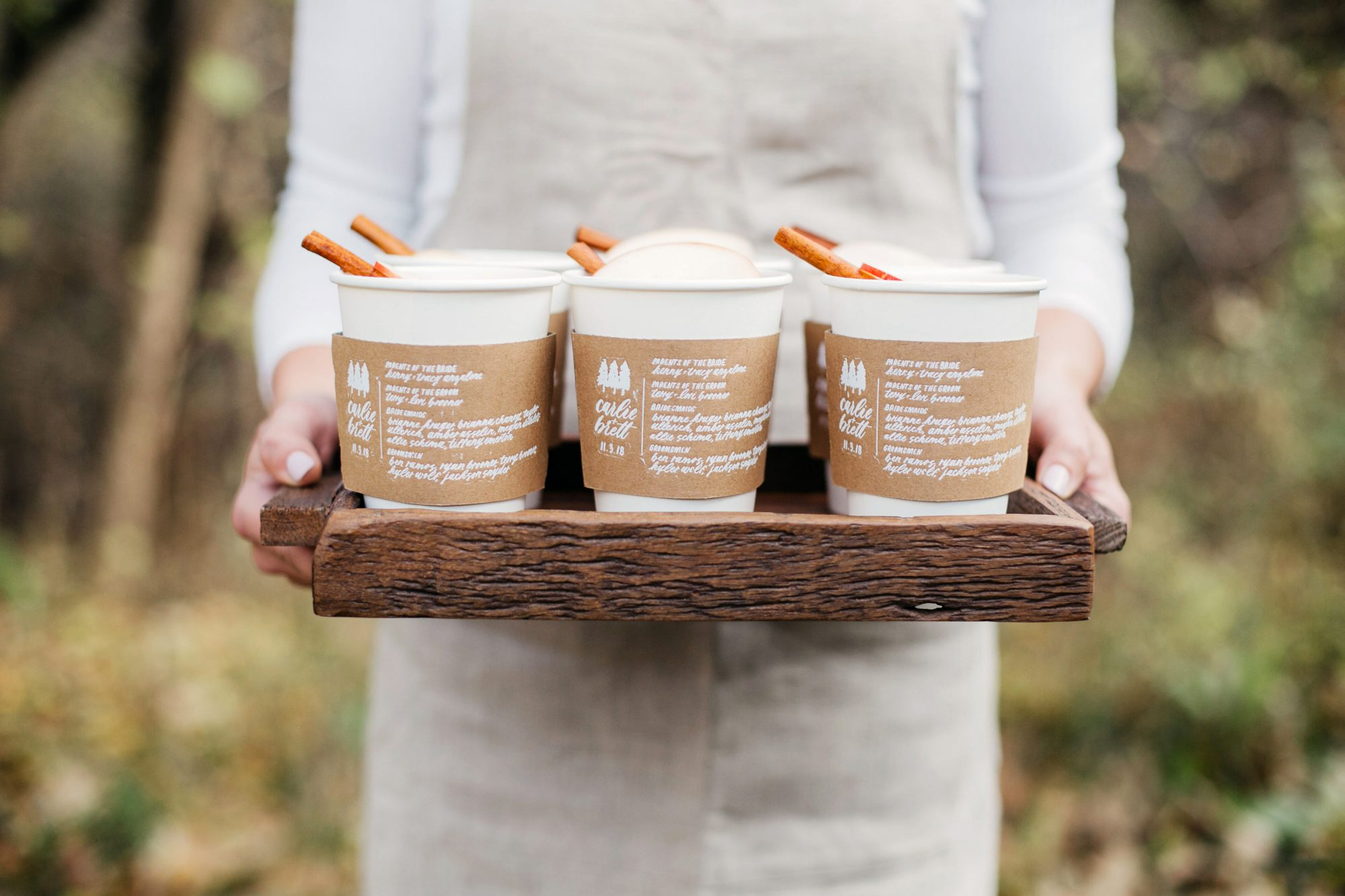 coffee wedding ideas tray of beverages with custom cardboard sleeves