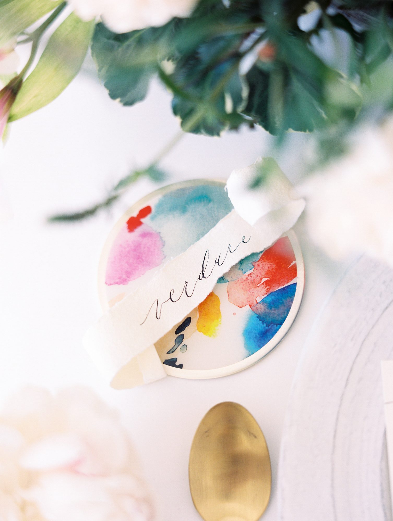 watercolor place setting