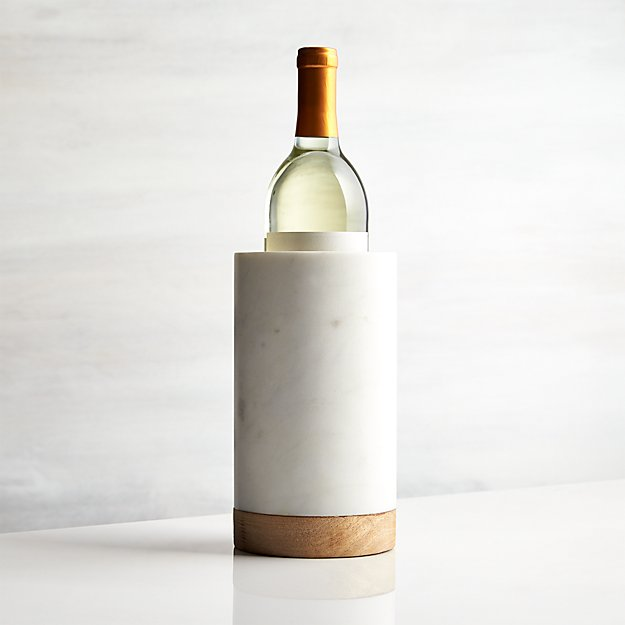 marble and wood wine cooler