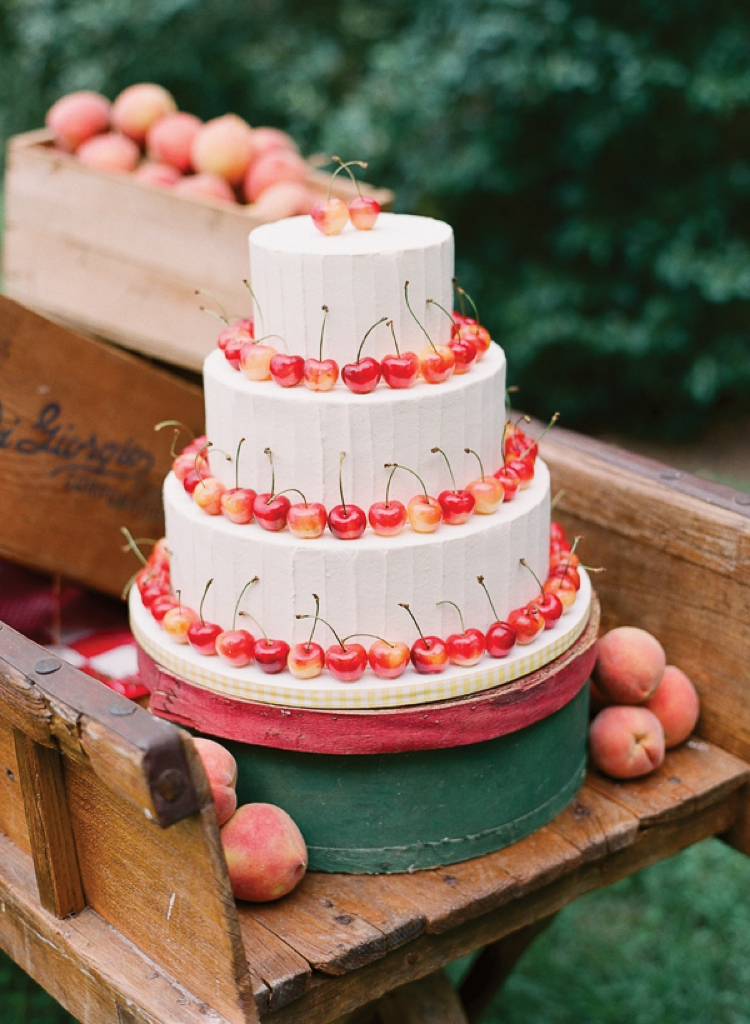 3-tier cake decorated with cherries