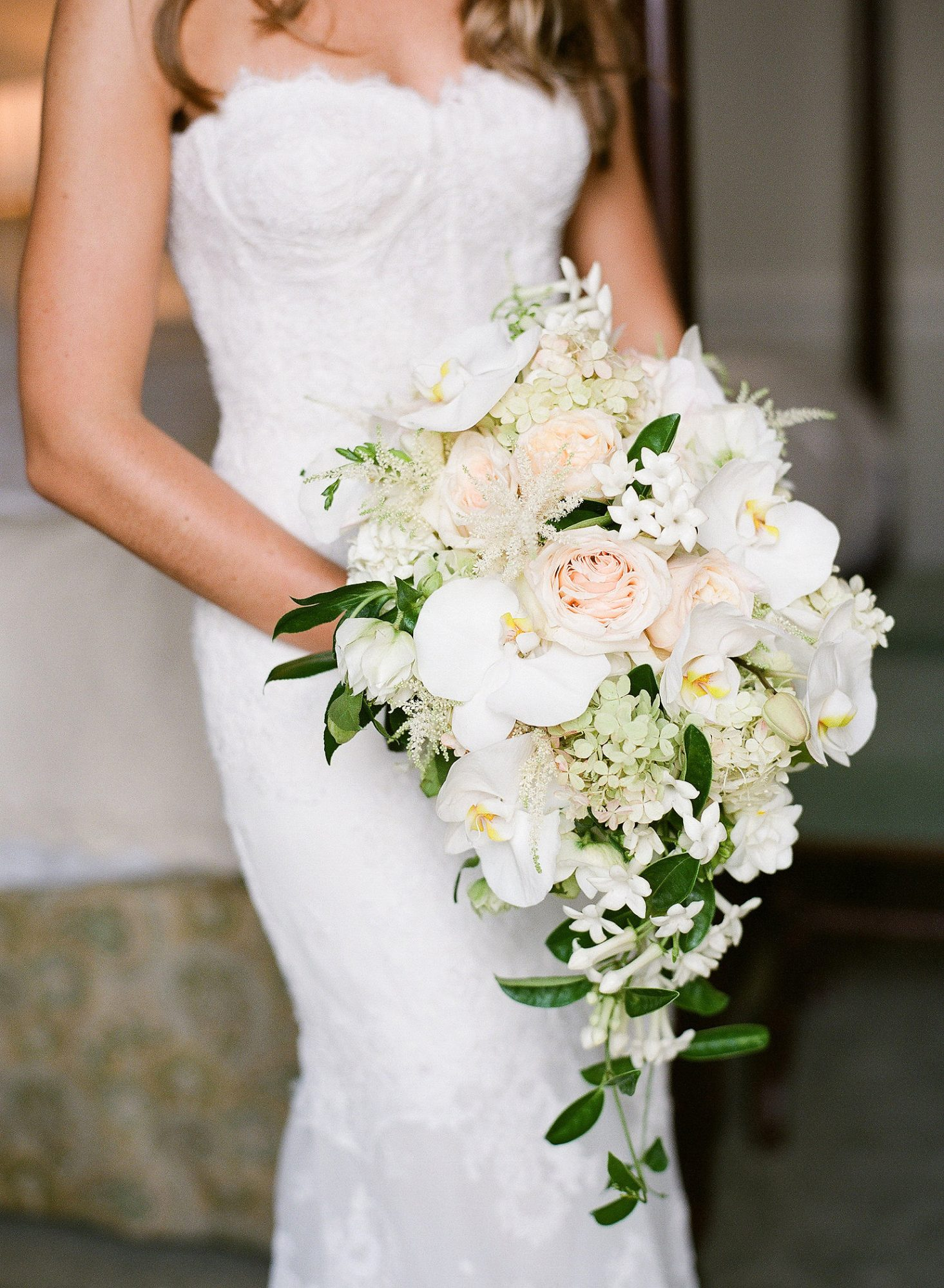 white pink cascading floral bouquet