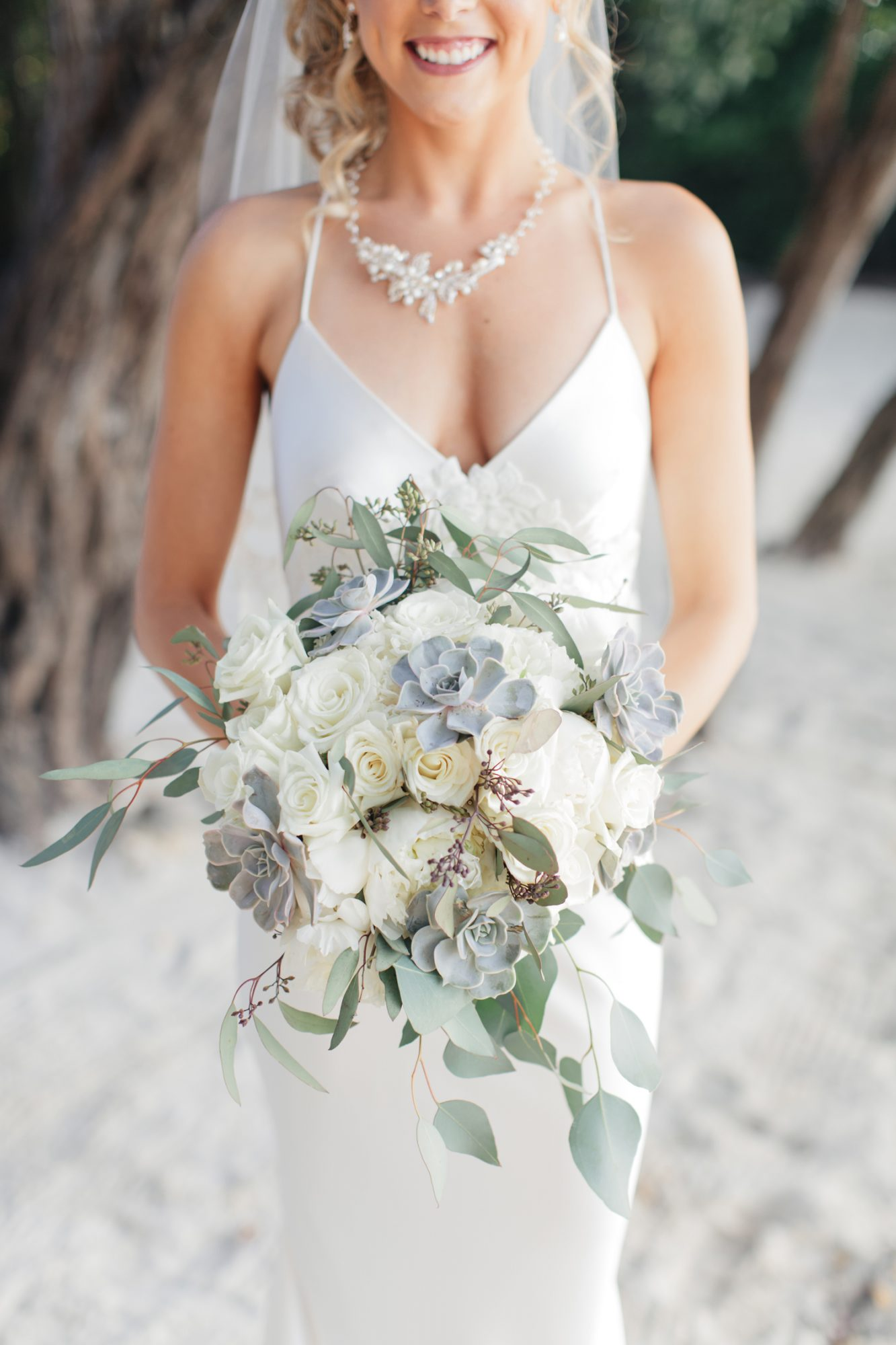gray-blue succulents in a beachy bouquet