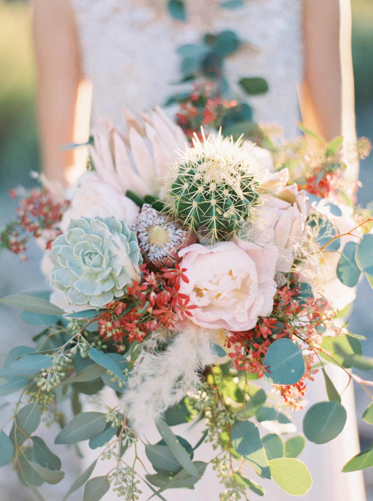 desert bridal bouquet with succulents and cacti