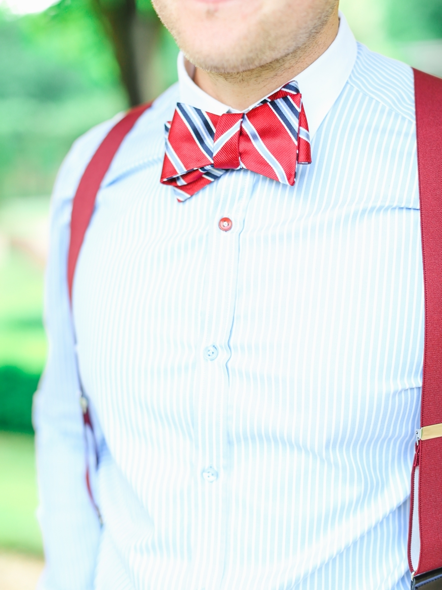 red and blue striped bowtie