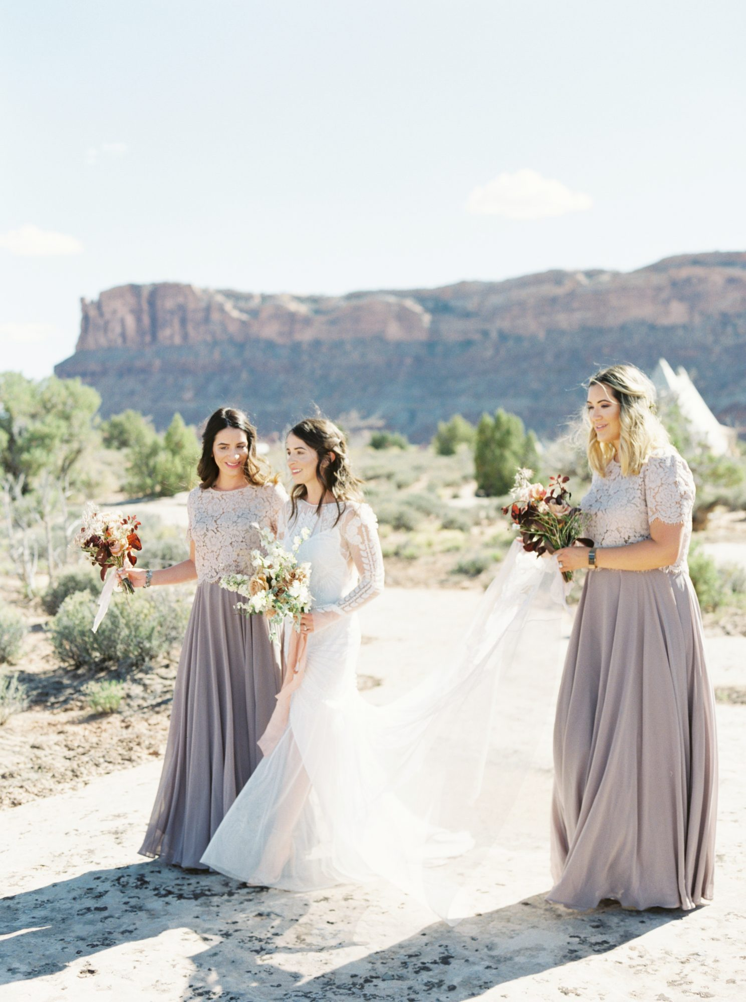 jeanette david wedding bride bridesmaids desert
