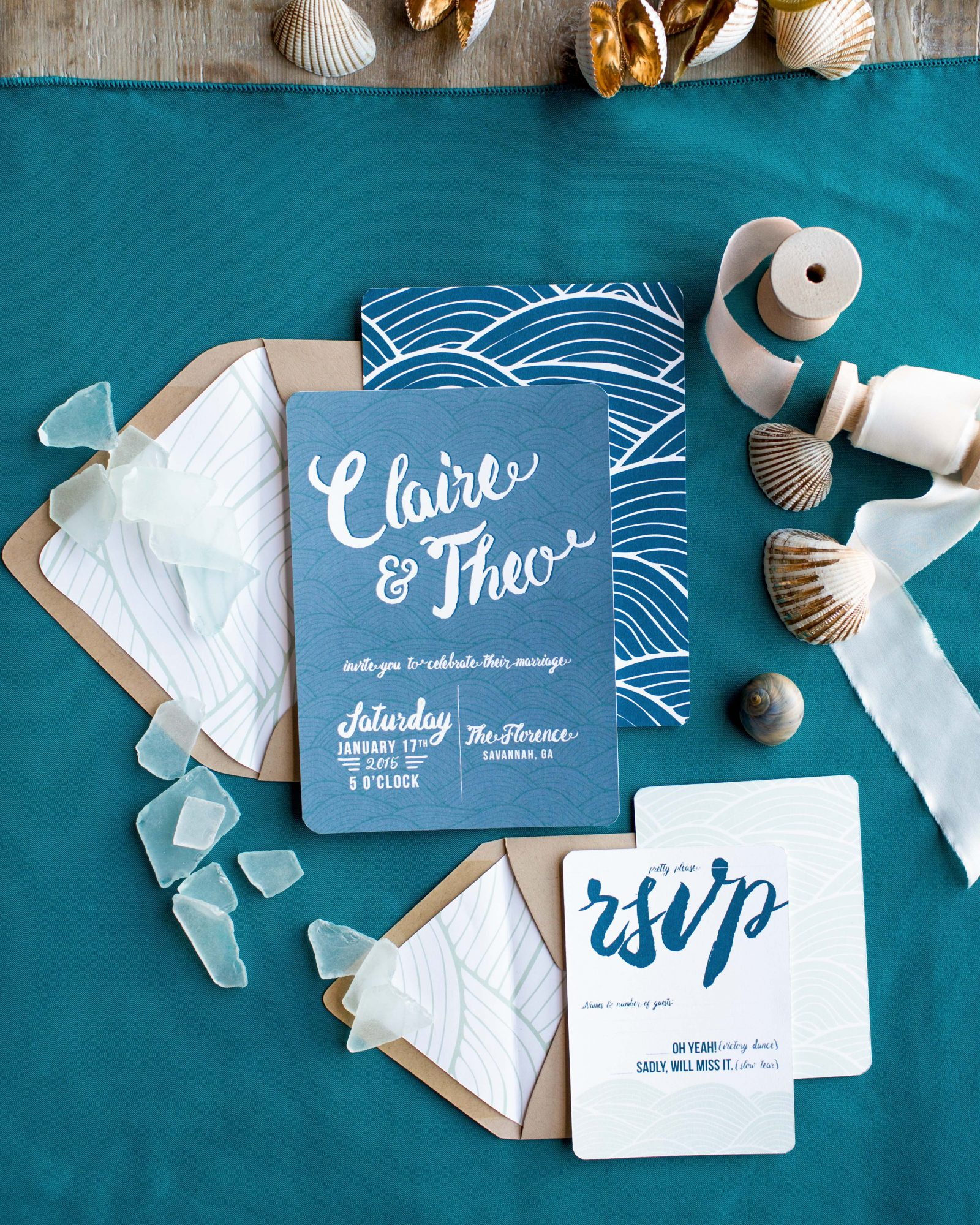 nautical invitation set sea green and medium blue woodblock print