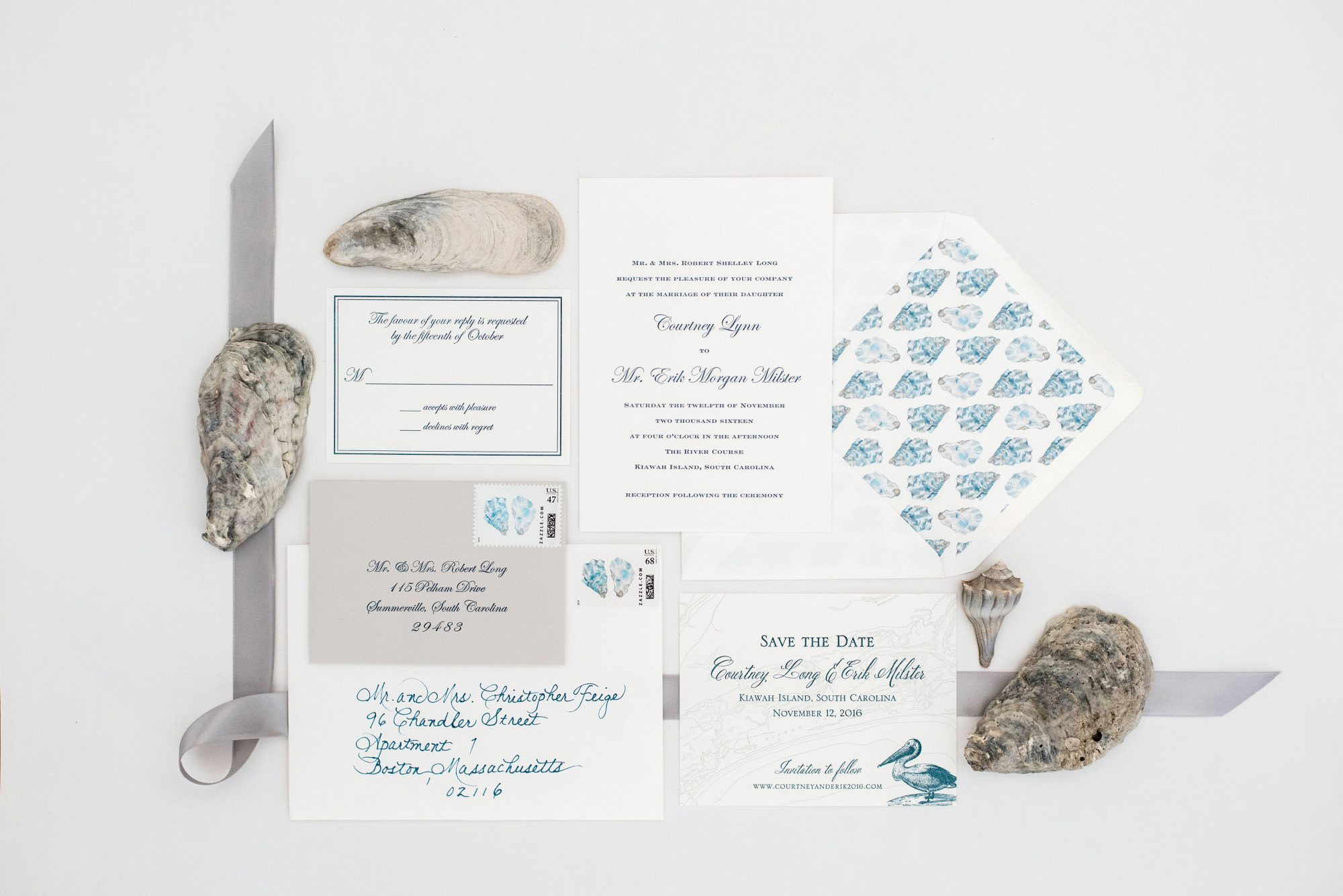 nautical invitation set gray and blue colors with oyster shells