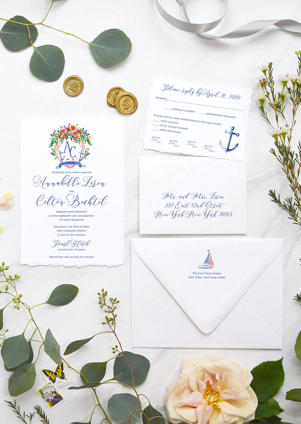 nautical invitation set with blue font bot and anchor elements