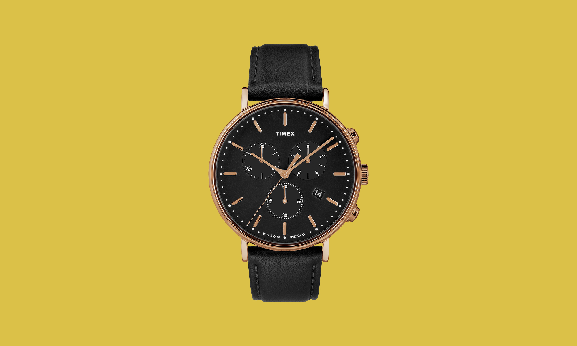 Timex Rose-Gold-Tone/Black Watch Leather Strap