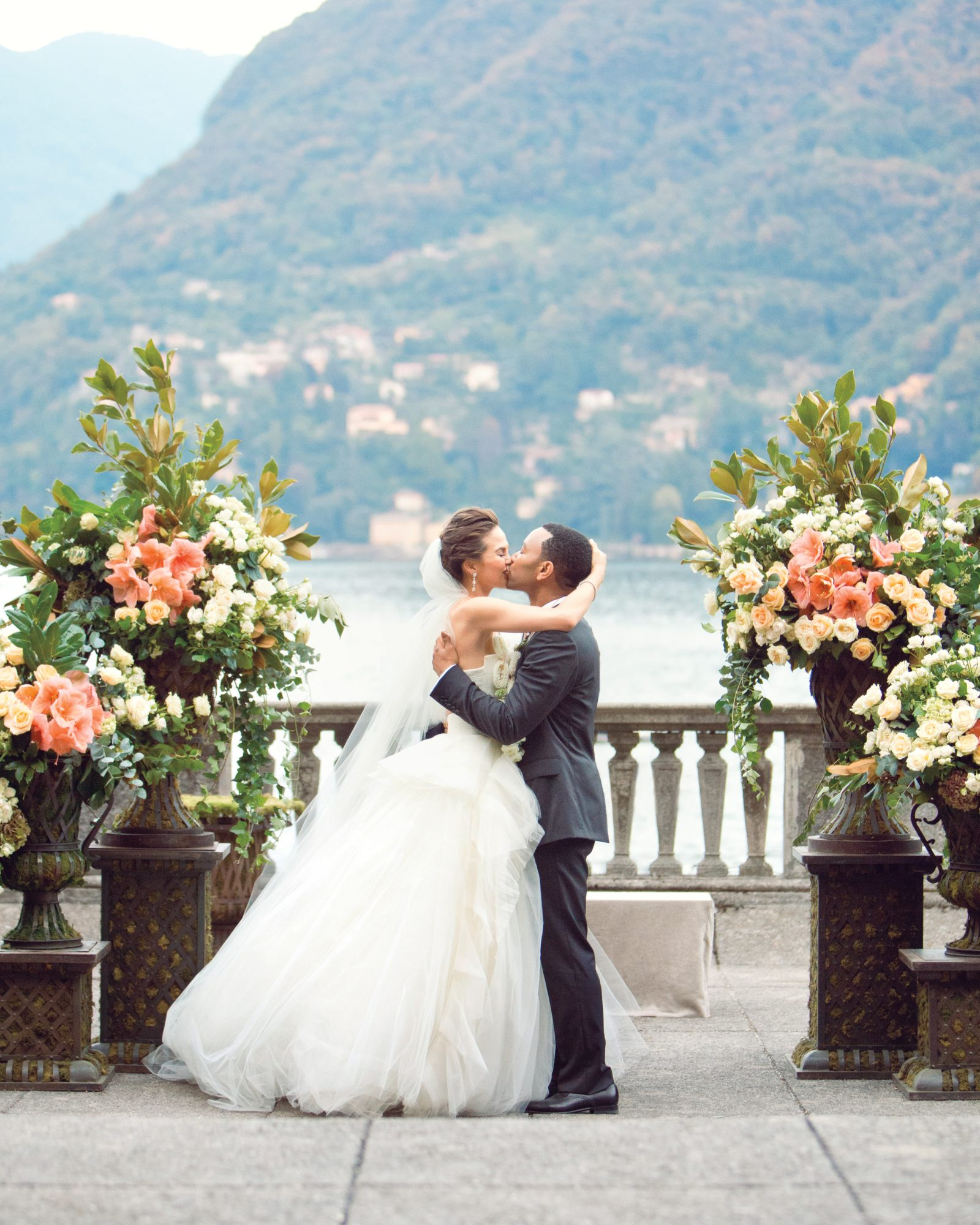 John Legend and Chrissy Teigen Kissing at Wedding