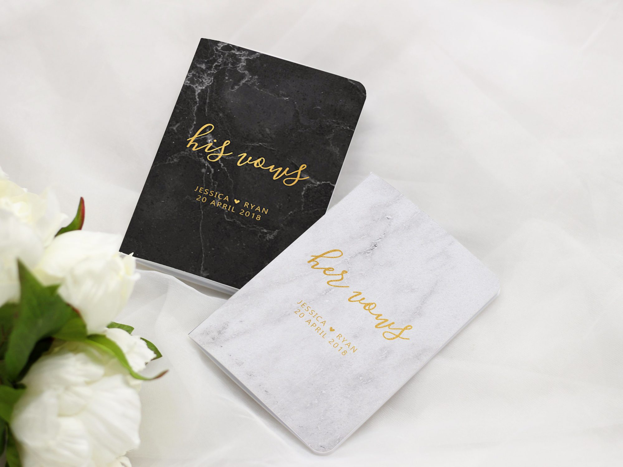 vow books his and hers black white marble