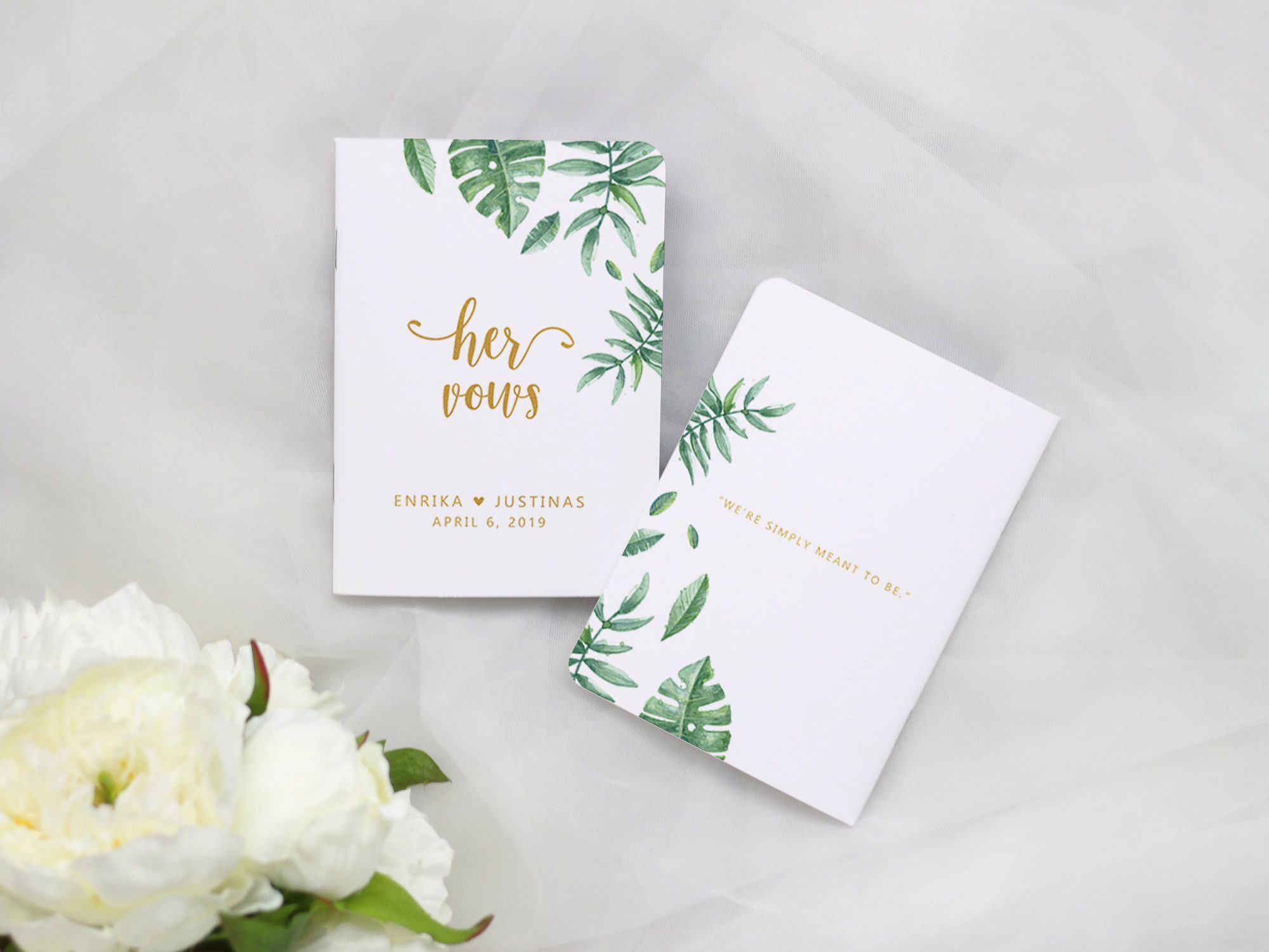 vow books tropical palm leaves with gold lettering