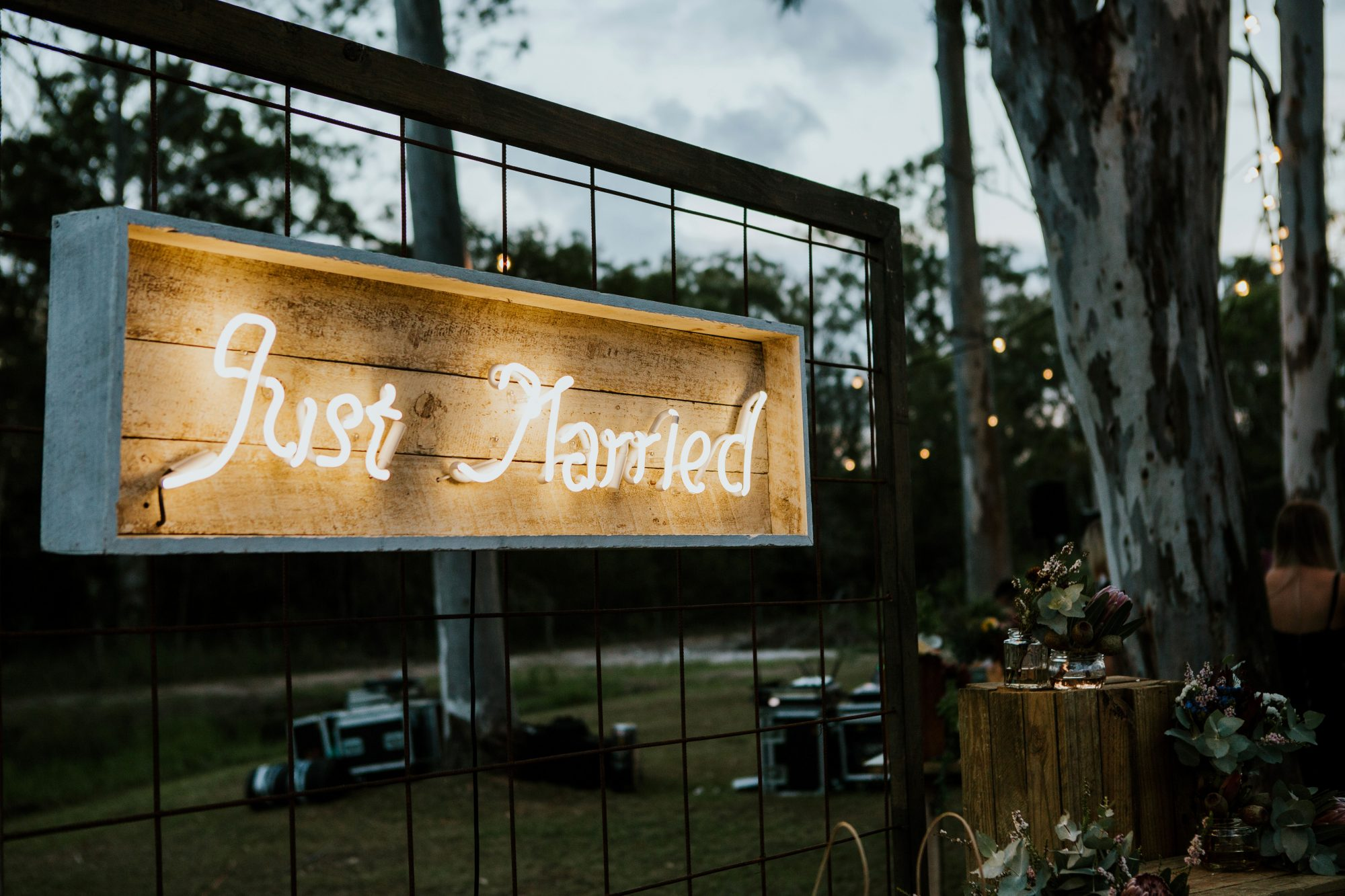 just married sign light up wooden