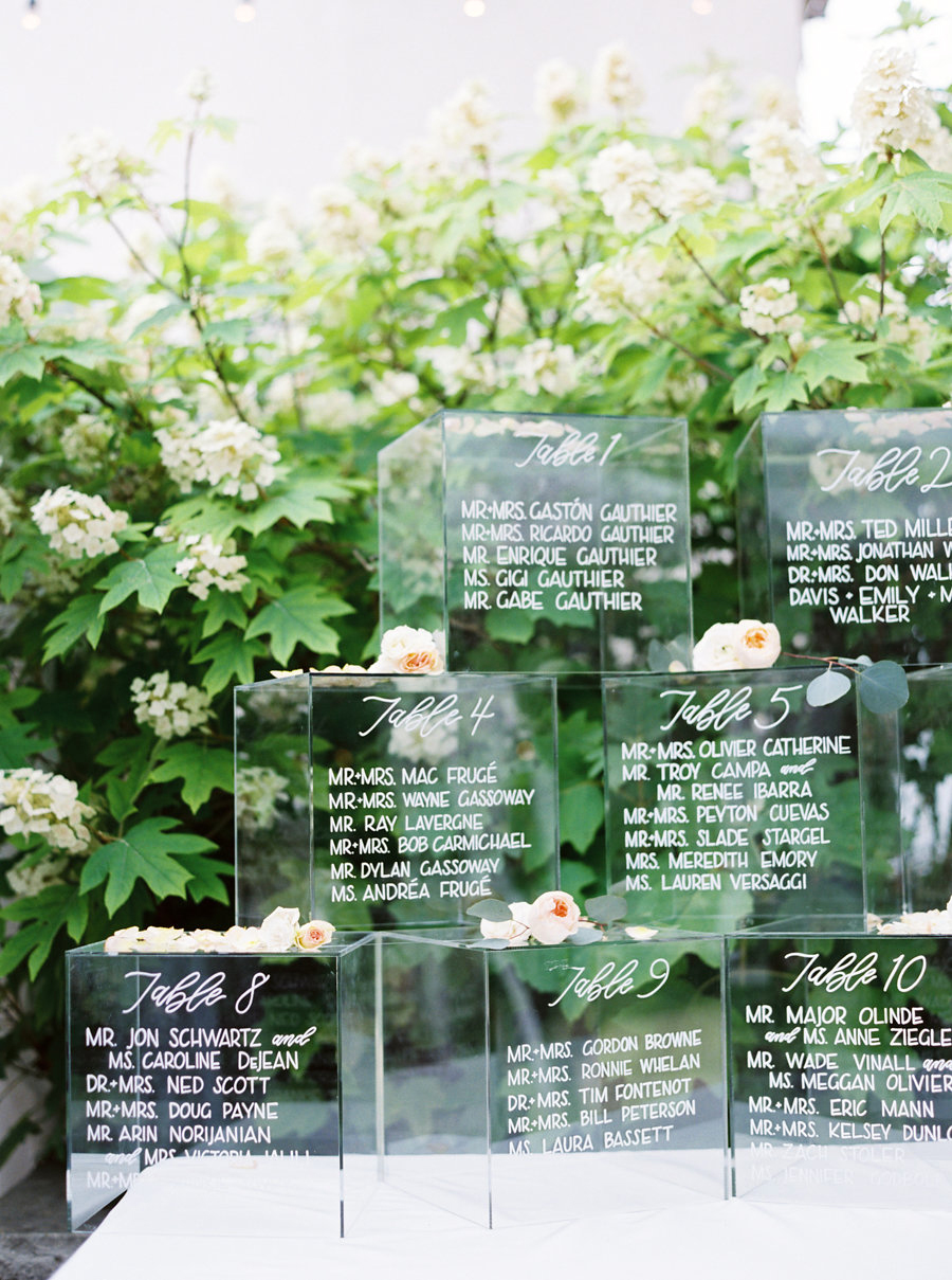 calligraphy lucite boxes seating chart display