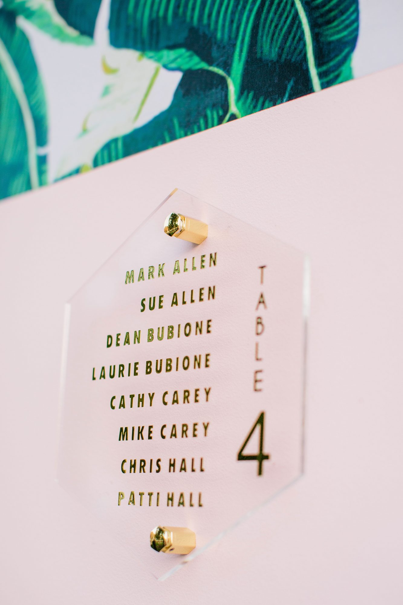 stephanie jared wedding poolside seating chart closeup