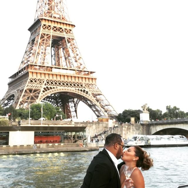 Adrienne Bailon and Israel Houghton's engagement photo in Paris with the Eiffel Tower in the background