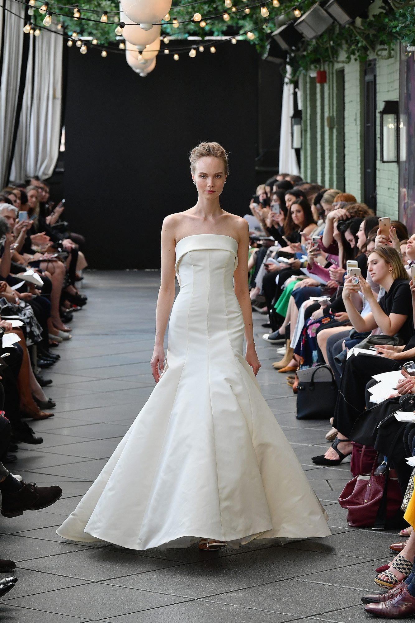 """""""Thompson"""" sleeveless silk faille trumpet wedding dress with folded neckline and draped bow detailing"""