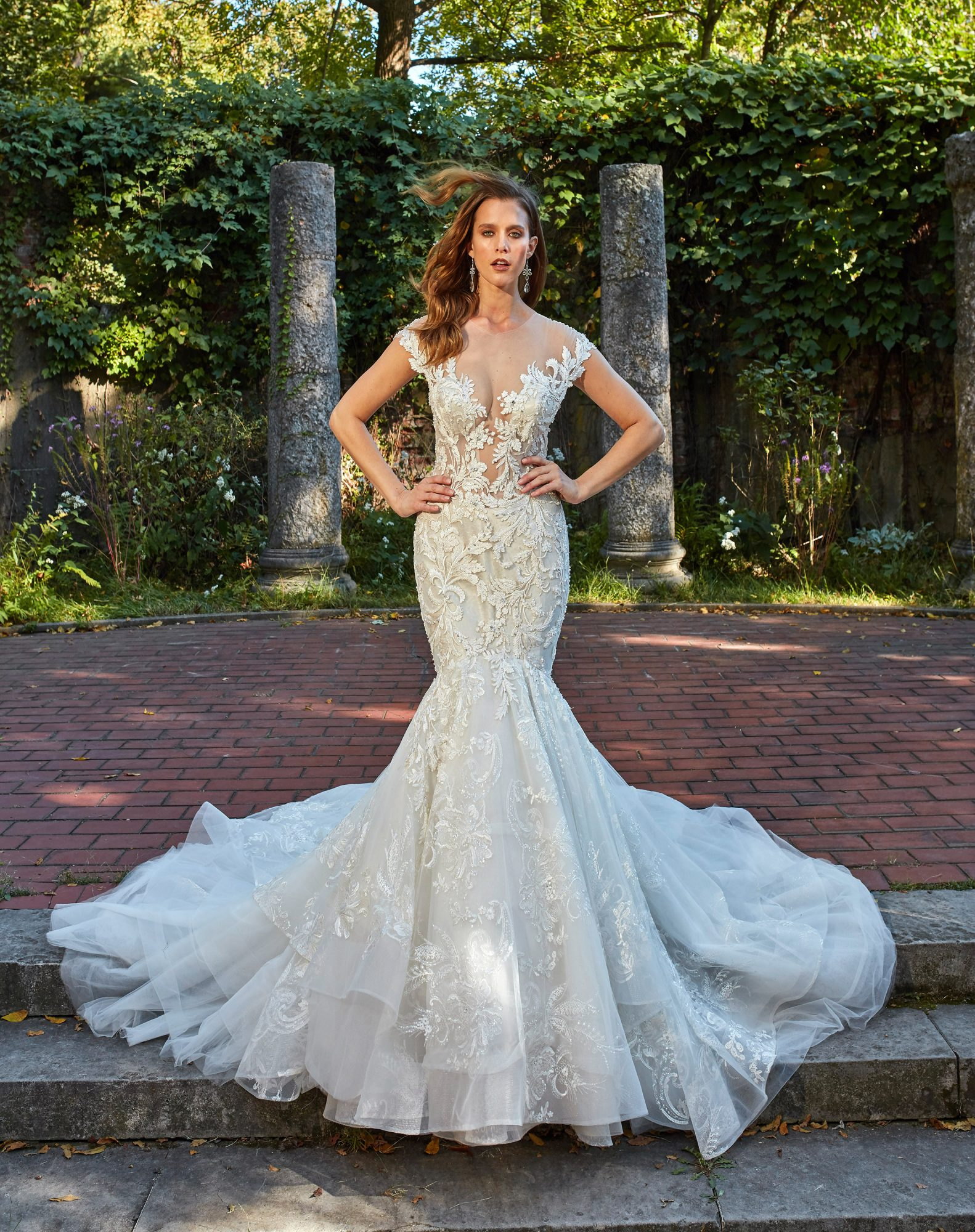 Off-the-shoulder mermaid wedding dress with embroidered lace and illusion bodice