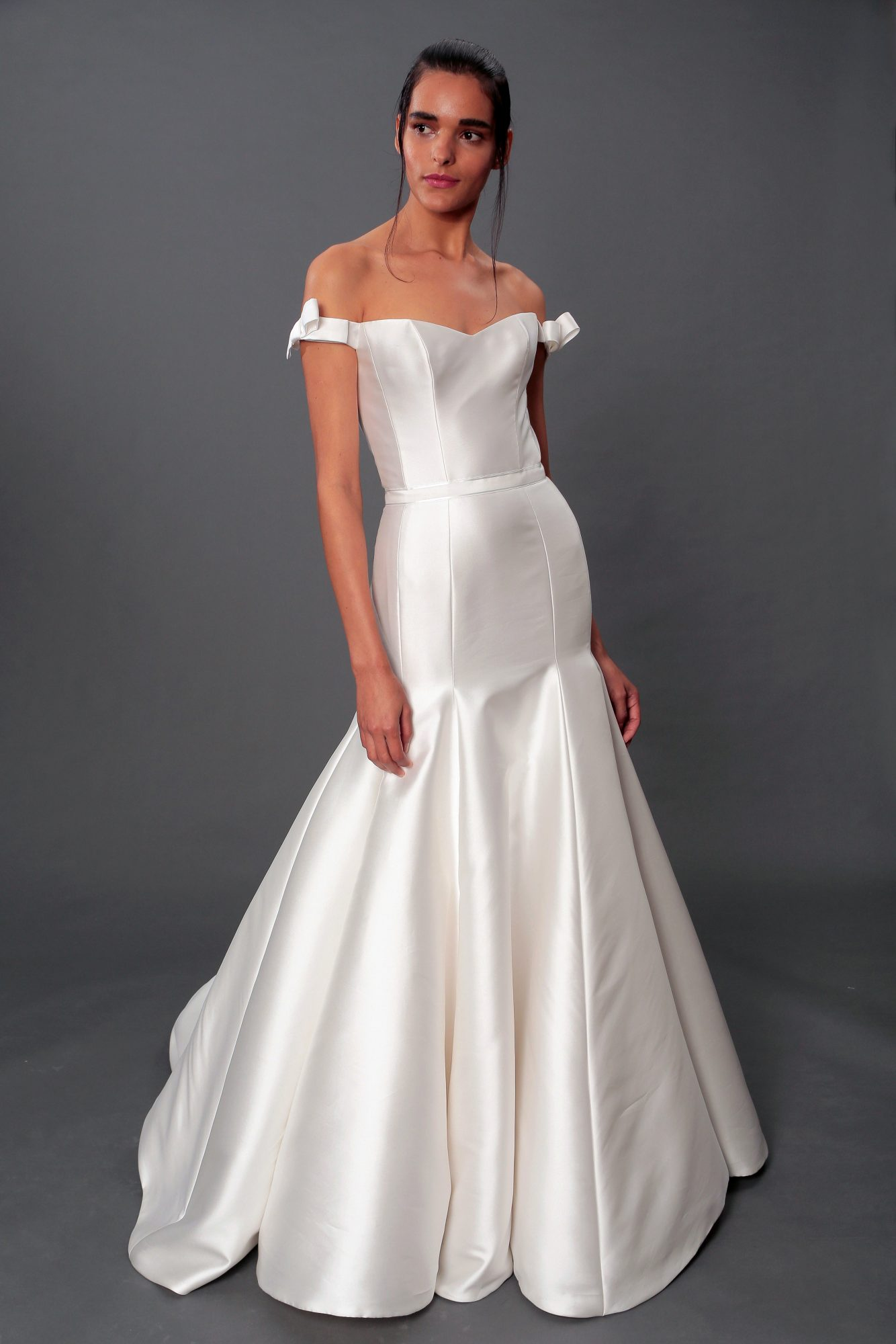 isabelle armstrong fall 2019 over the shoulder trumpet wedding dress