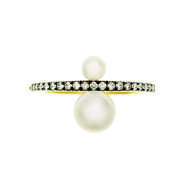 """Jemma Wynne """"Prive"""" white pearl and diamond ring"""