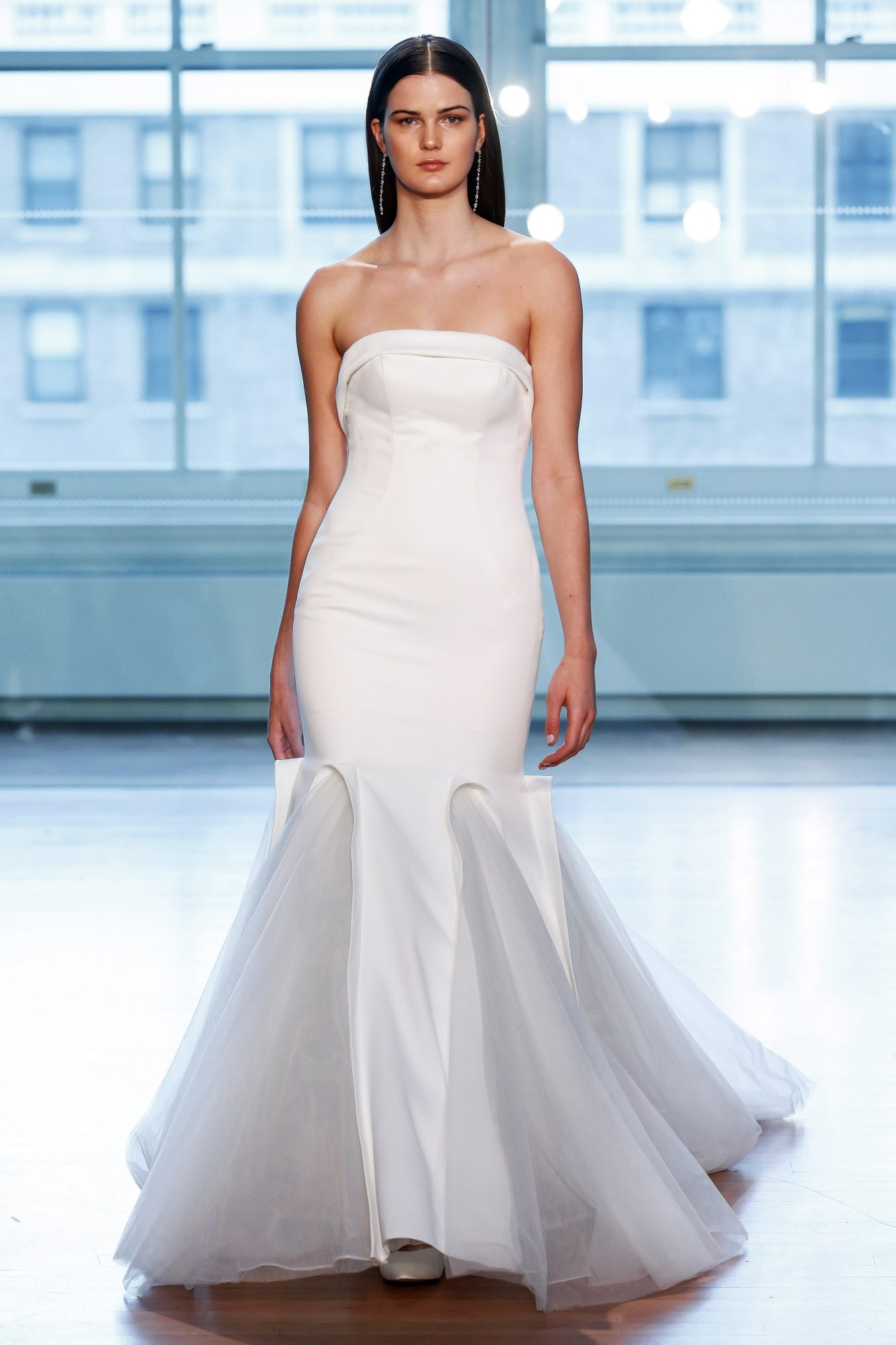"""""""99041"""" crepe strapless mermaid wedding dress with panelled tulle godets"""