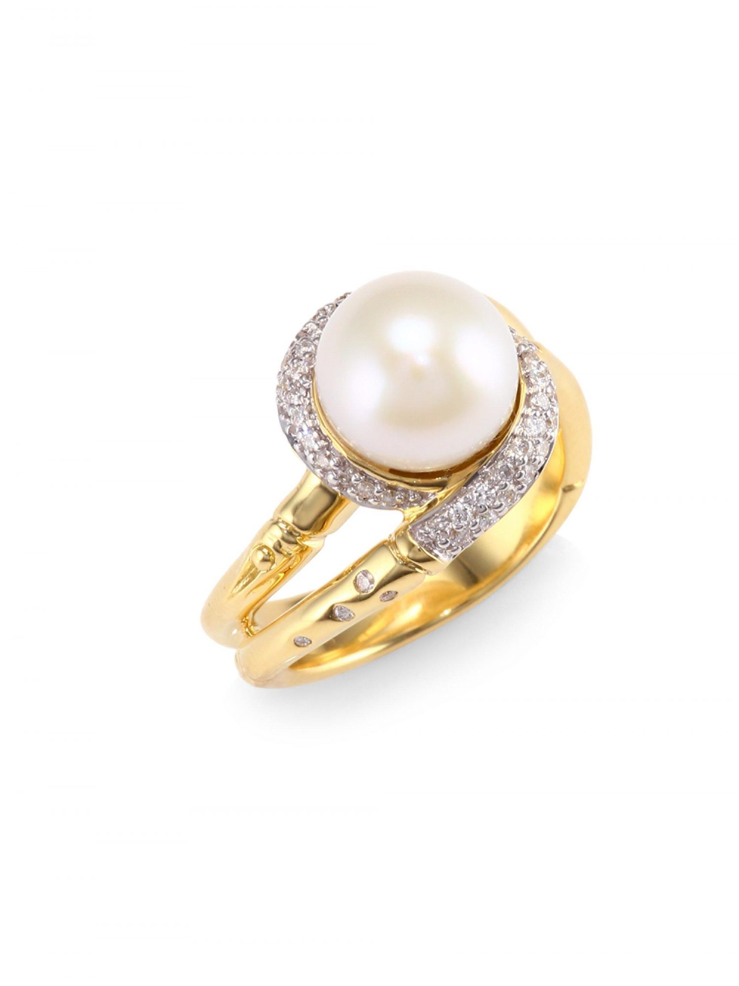 """John Hardy """"Bamboo"""" Mother of Pearl, Sterling Silver, and 14-Karat Yellow Gold Ring"""
