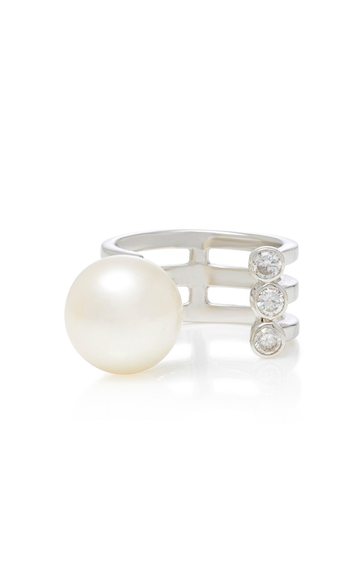 Lynn Ban Jewelry Sterling Silver, Diamond, and Pearl Ring