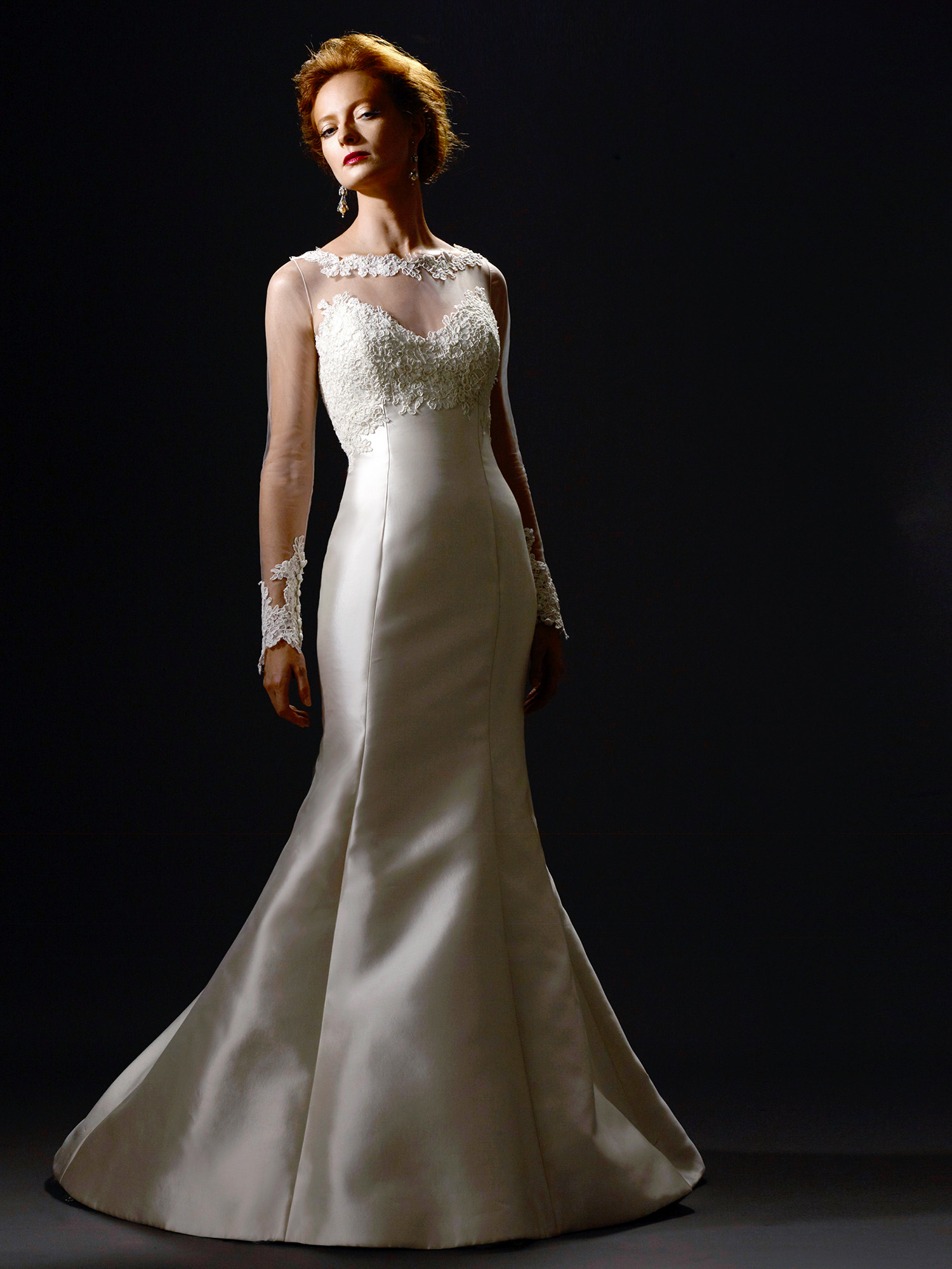 """""""Delphine"""" mermaid wedding dress with high illusion neckline, lace appliqués, and flared skirt"""