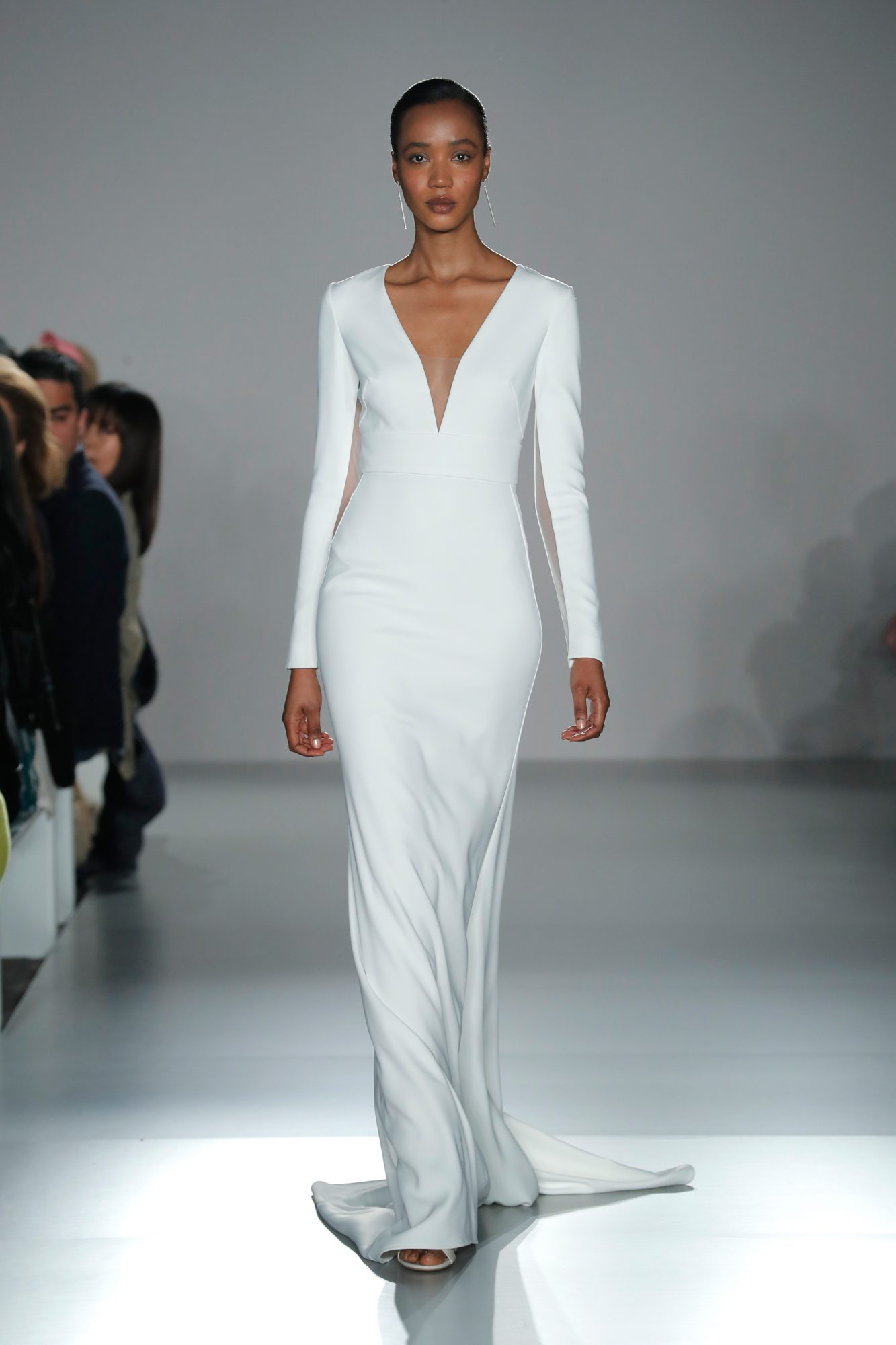 nouvelle amsale long sleeve v-neck sheath wedding dress spring 2020
