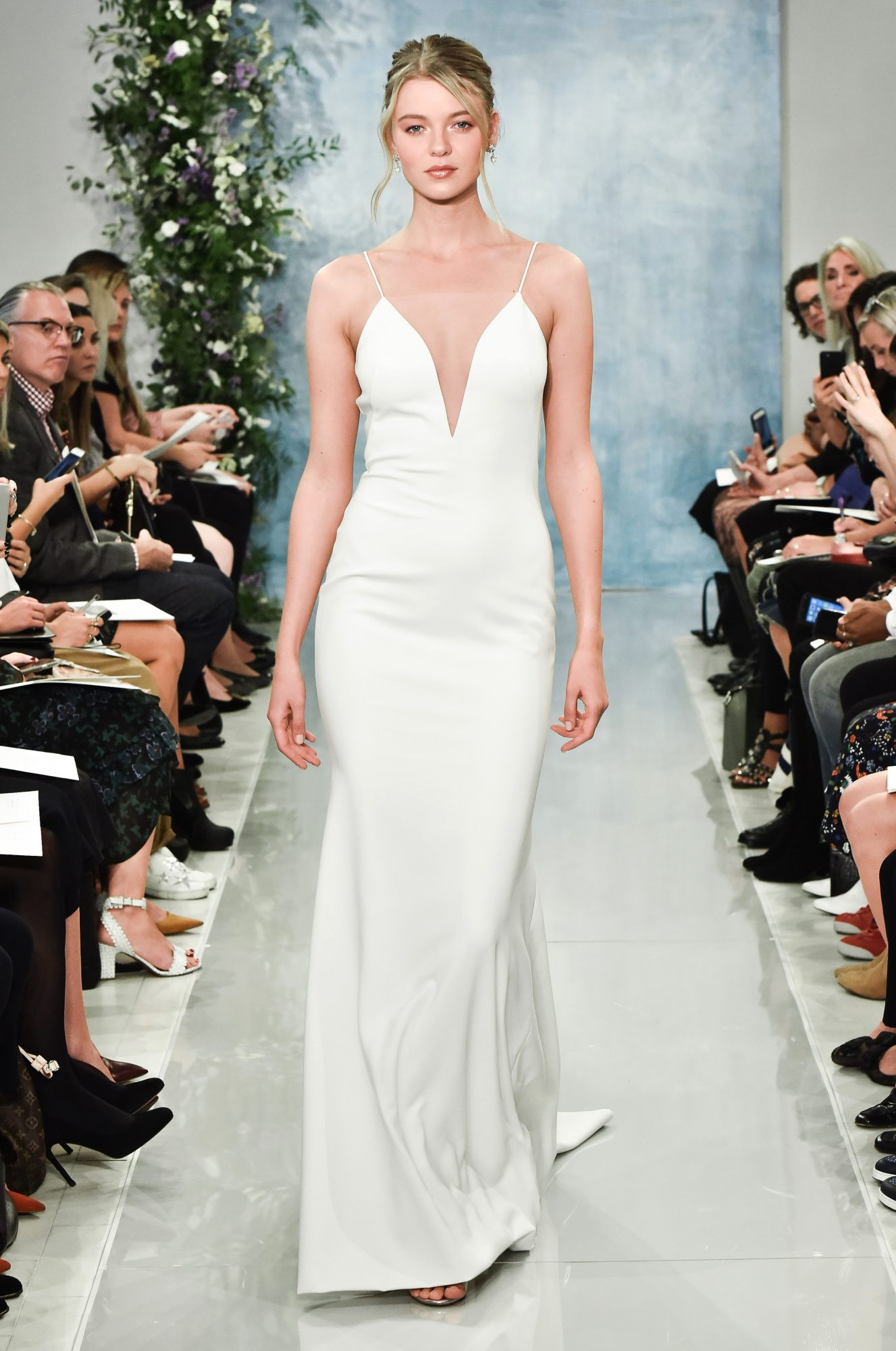 theia plunging neckline with spaghetti straps wedding dress fall2018