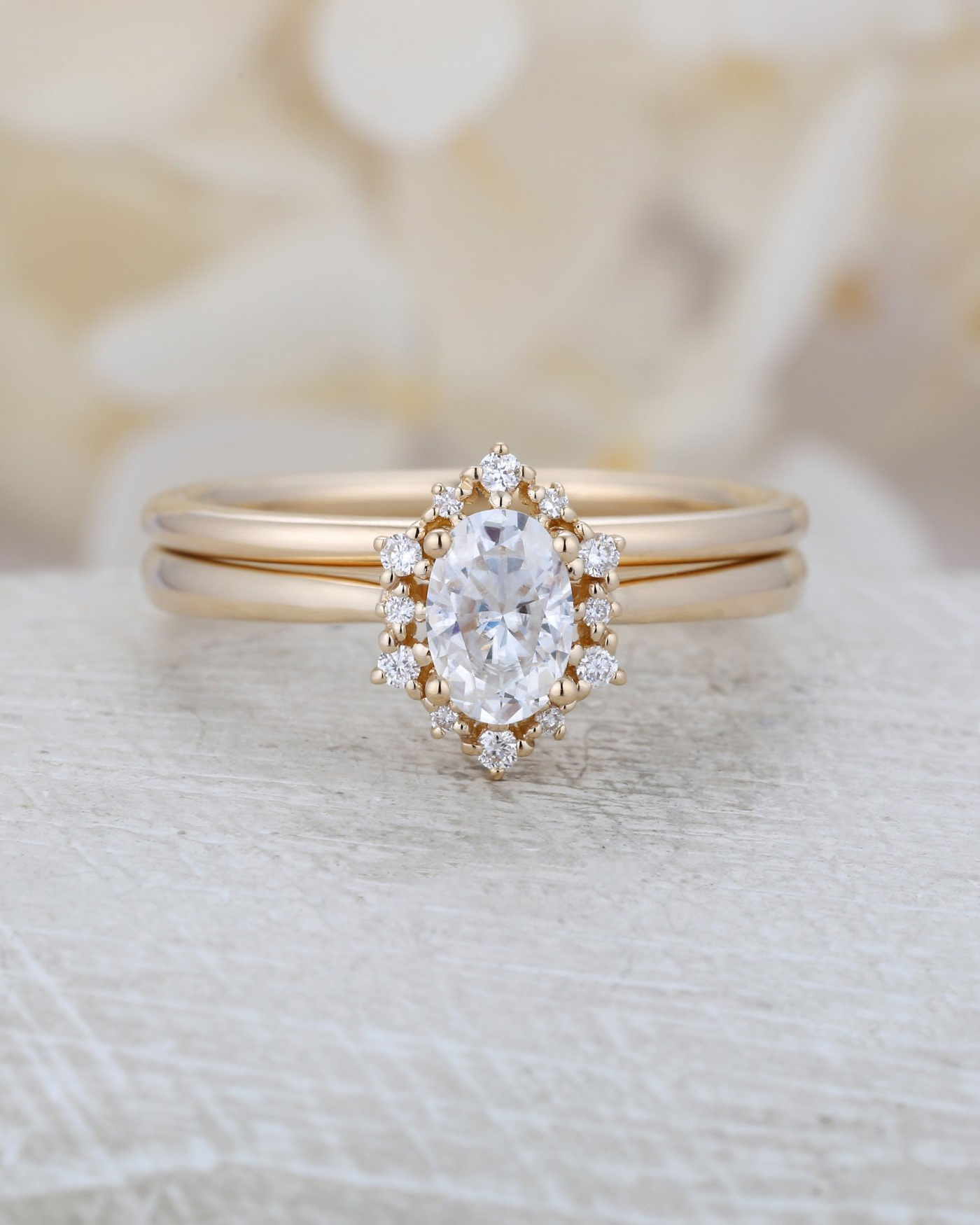 Vintage Oval Diamond Engagement Ring