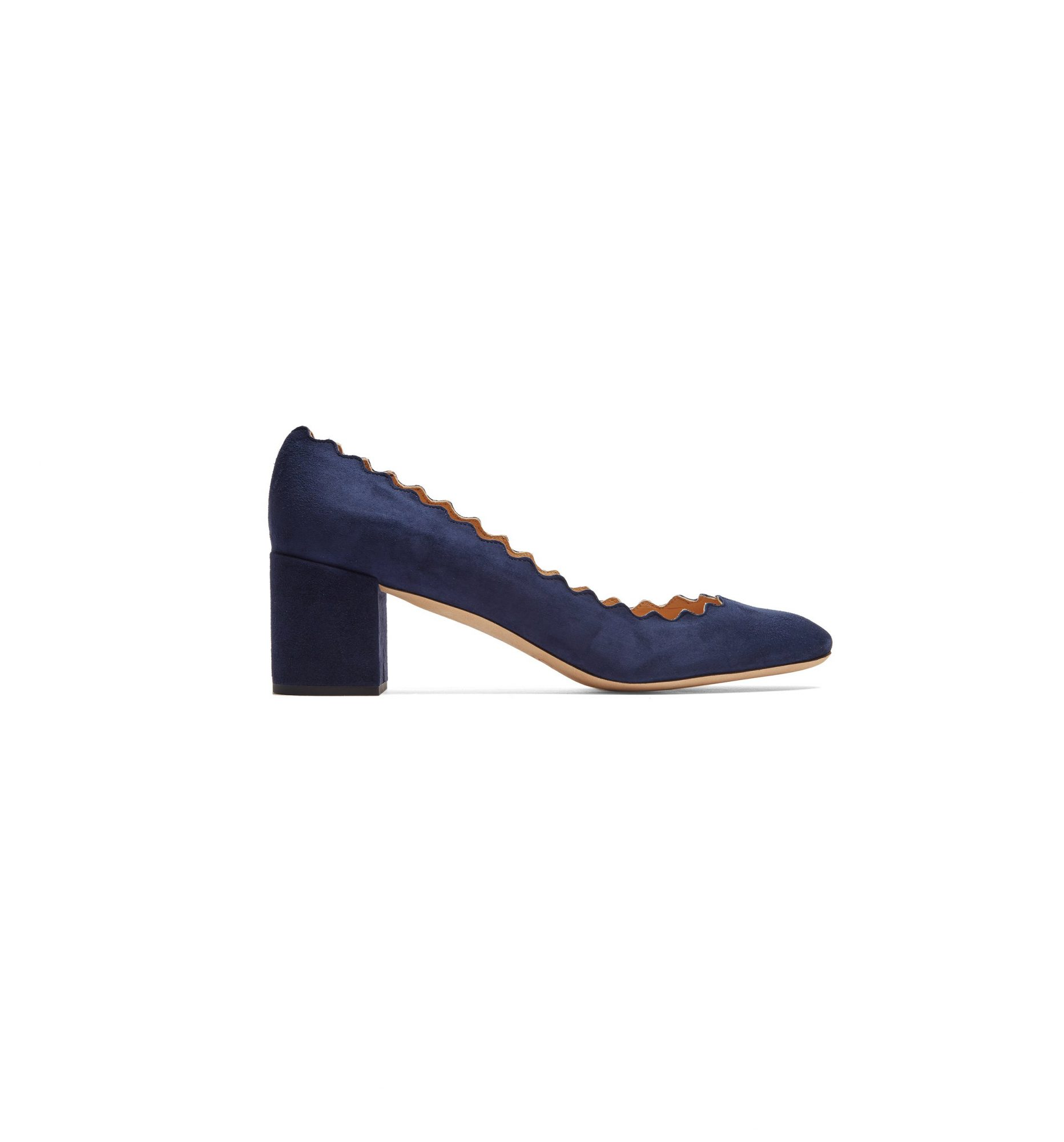 "Chloé ""Lauren"" Scallop-Edge Suede Pumps"