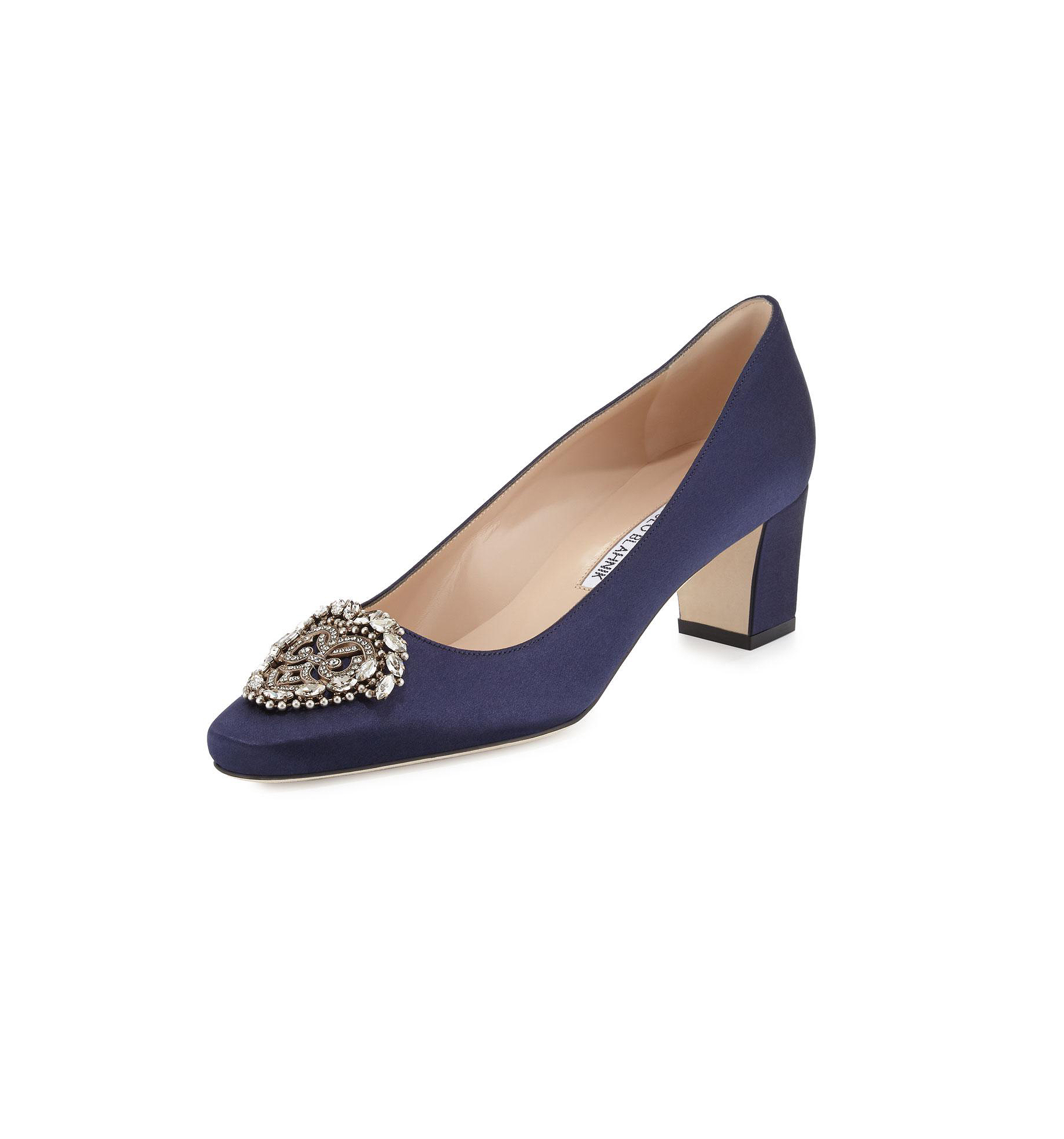 "Manolo Blahnik ""Okkato"" Jeweled Satin Pumps"