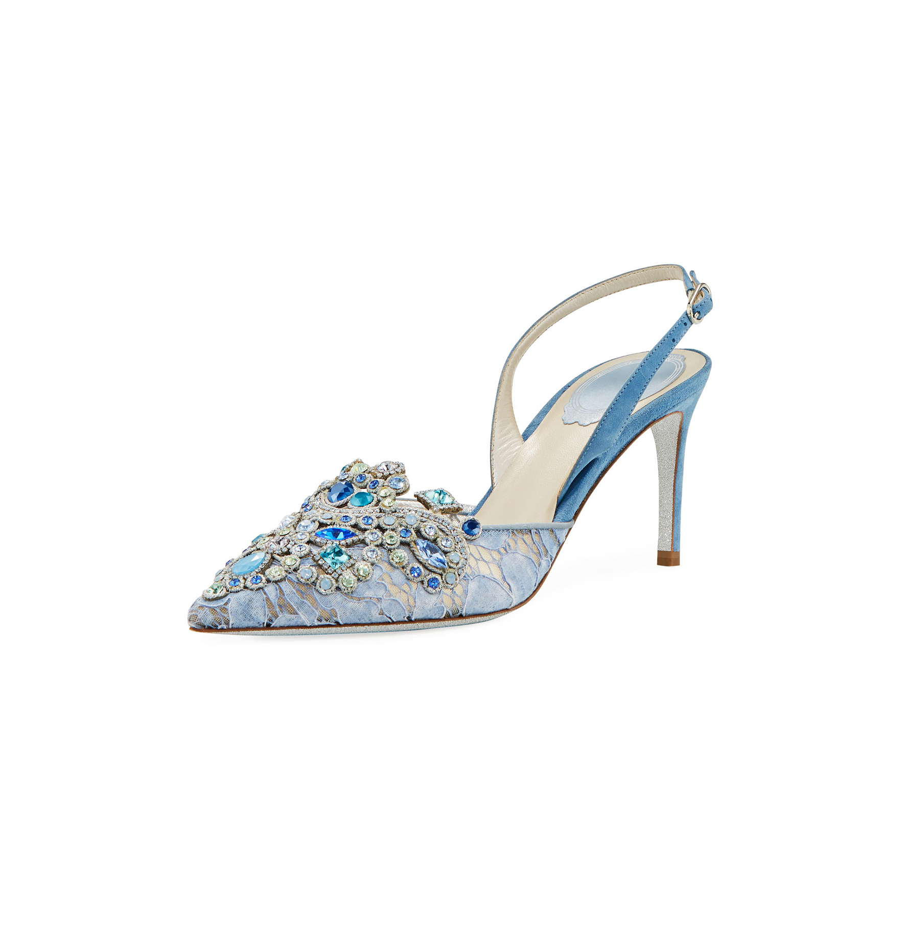 Rene Caovilla Crystal Beaded Halter Pumps