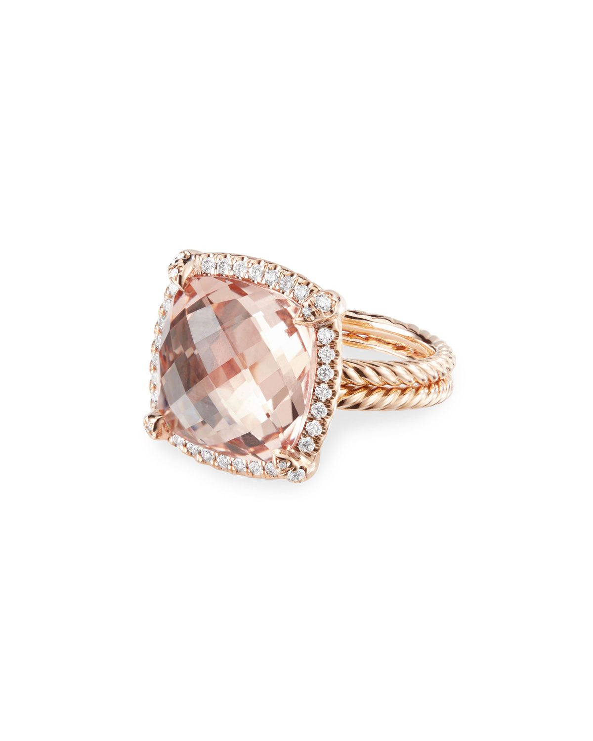 Rose Gold Ring with Morganite and Diamonds