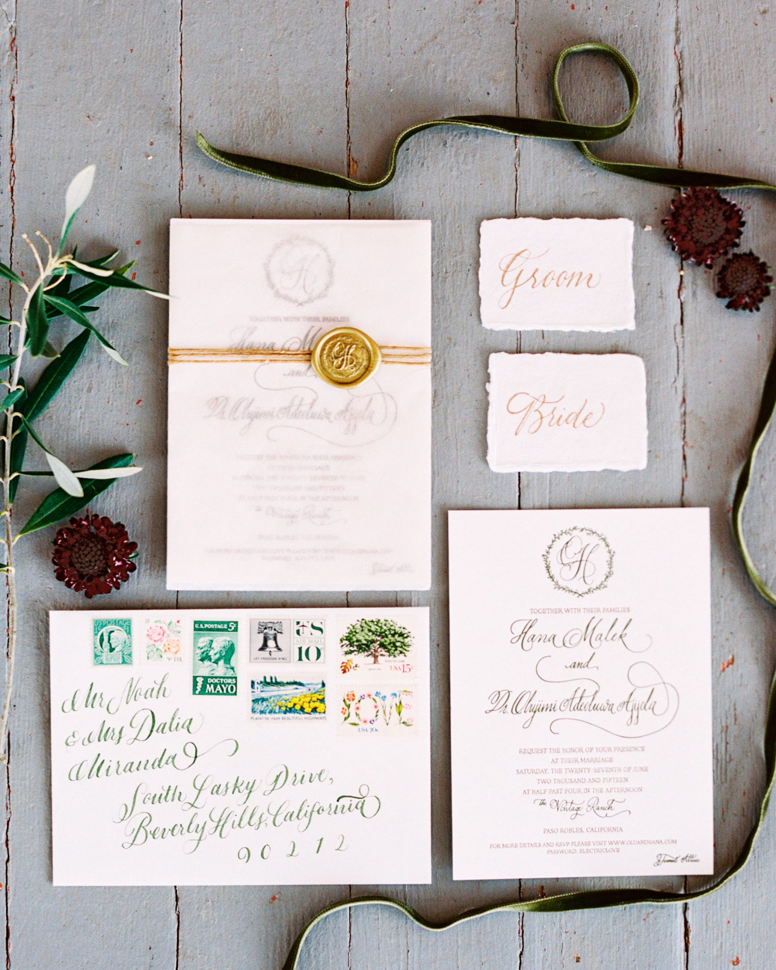 hana olu wedding california stationery