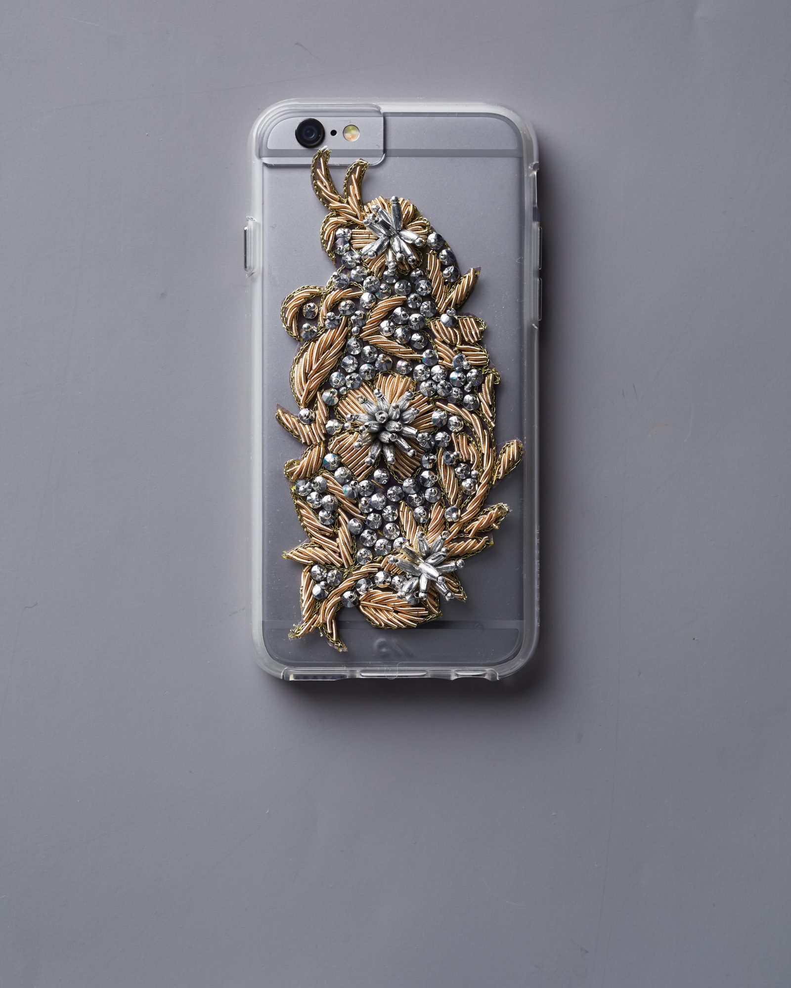 Transform an everyday must-have into a stylish accessory by adding beaded bullion appliqués to a clear phone case. Just make sure to grab cases that fit your 'maids' phones!