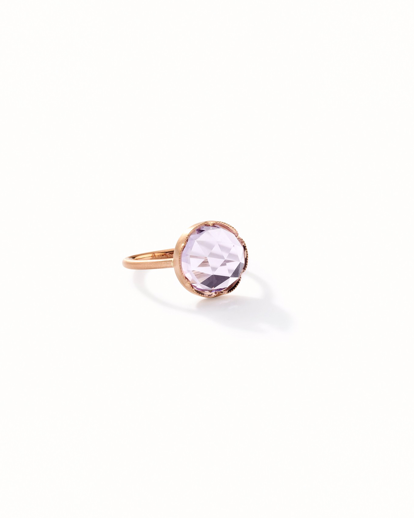 Rose of France scalloped coin-edge setting engagement ring