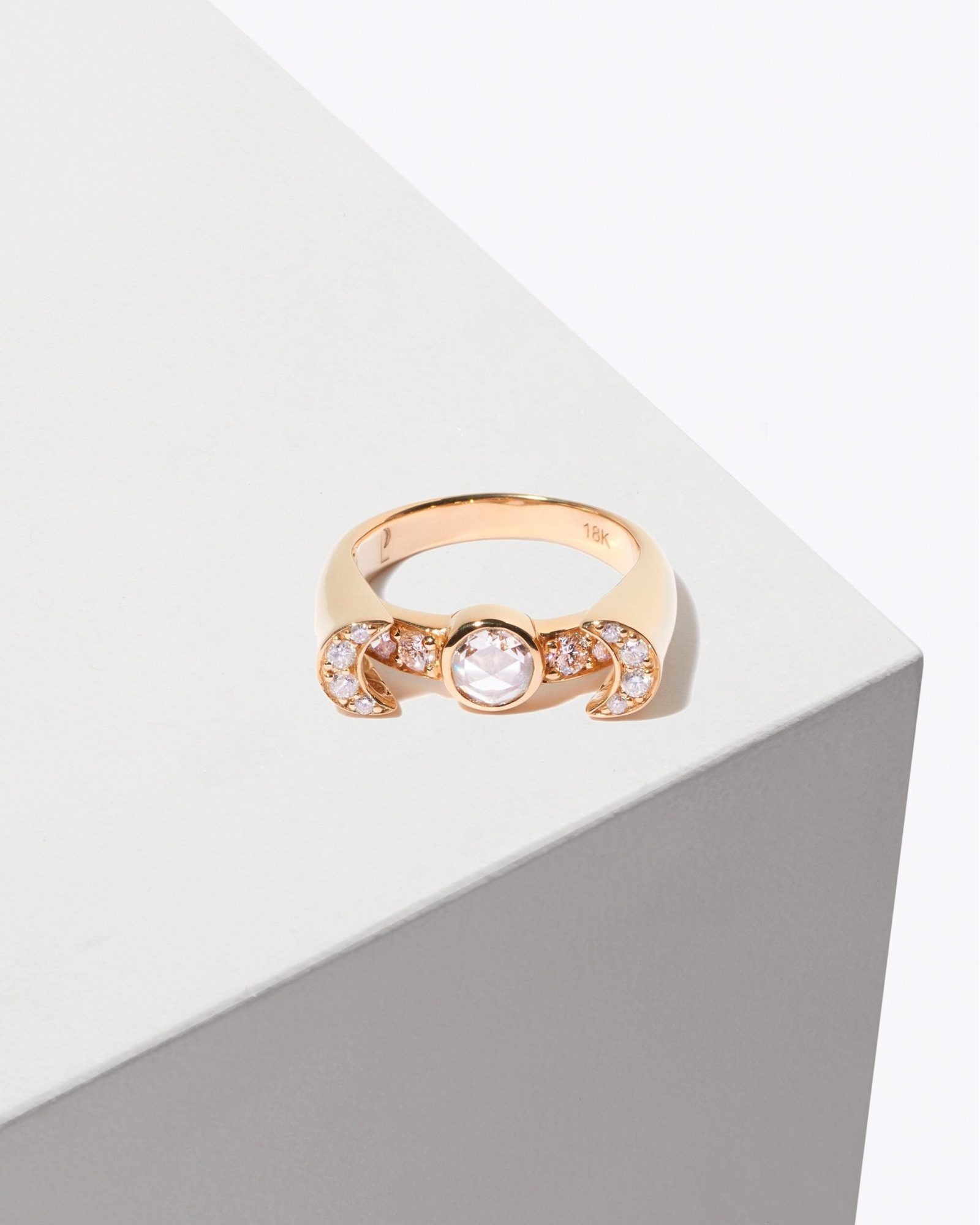 yellow gold with rose cut white diamonds engagement ring